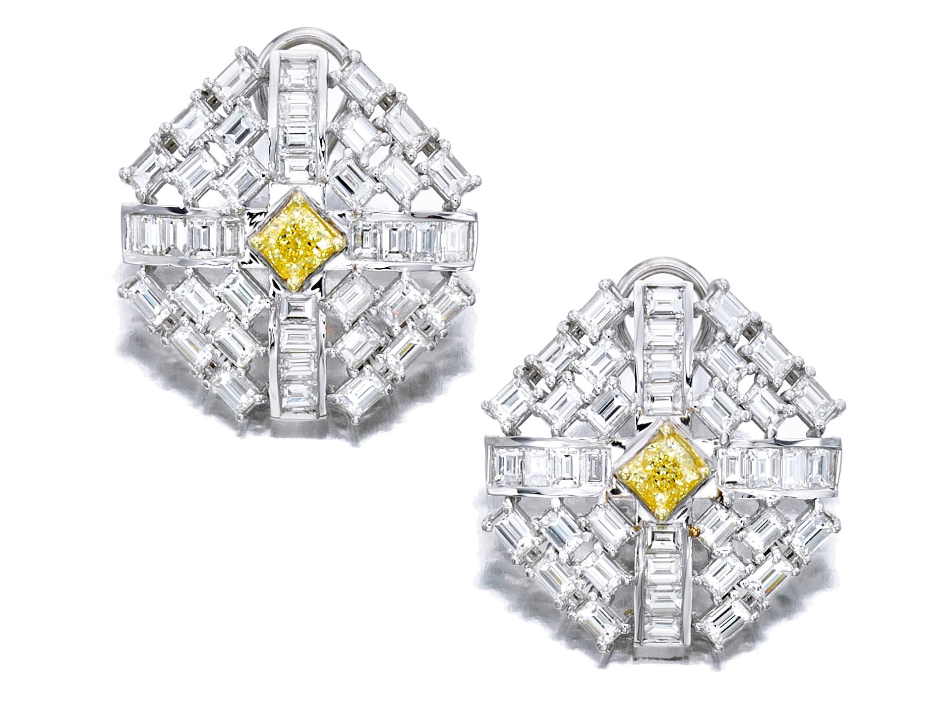 Pair of Fancy Intense Yellow Diamond and Diamond Earclips
