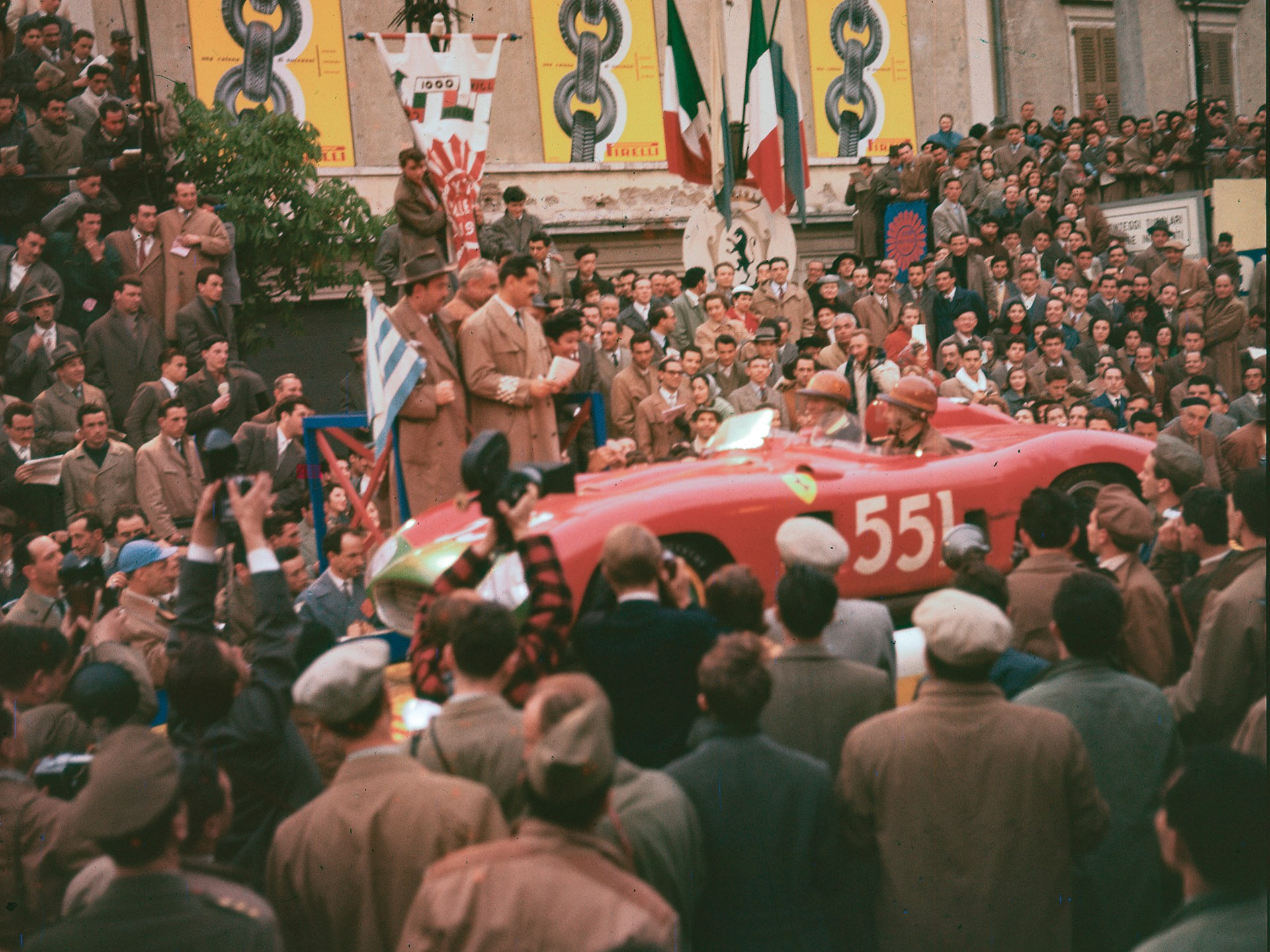 Chassis no. 0628 at the start of the 1956 Mille Miglia.