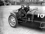 1925 Bugatti Type 35 Grand Prix  - $Lady Cholmondeley and Malcolm Campbell pose for a photo in chassis number 4394 at Brooklands.