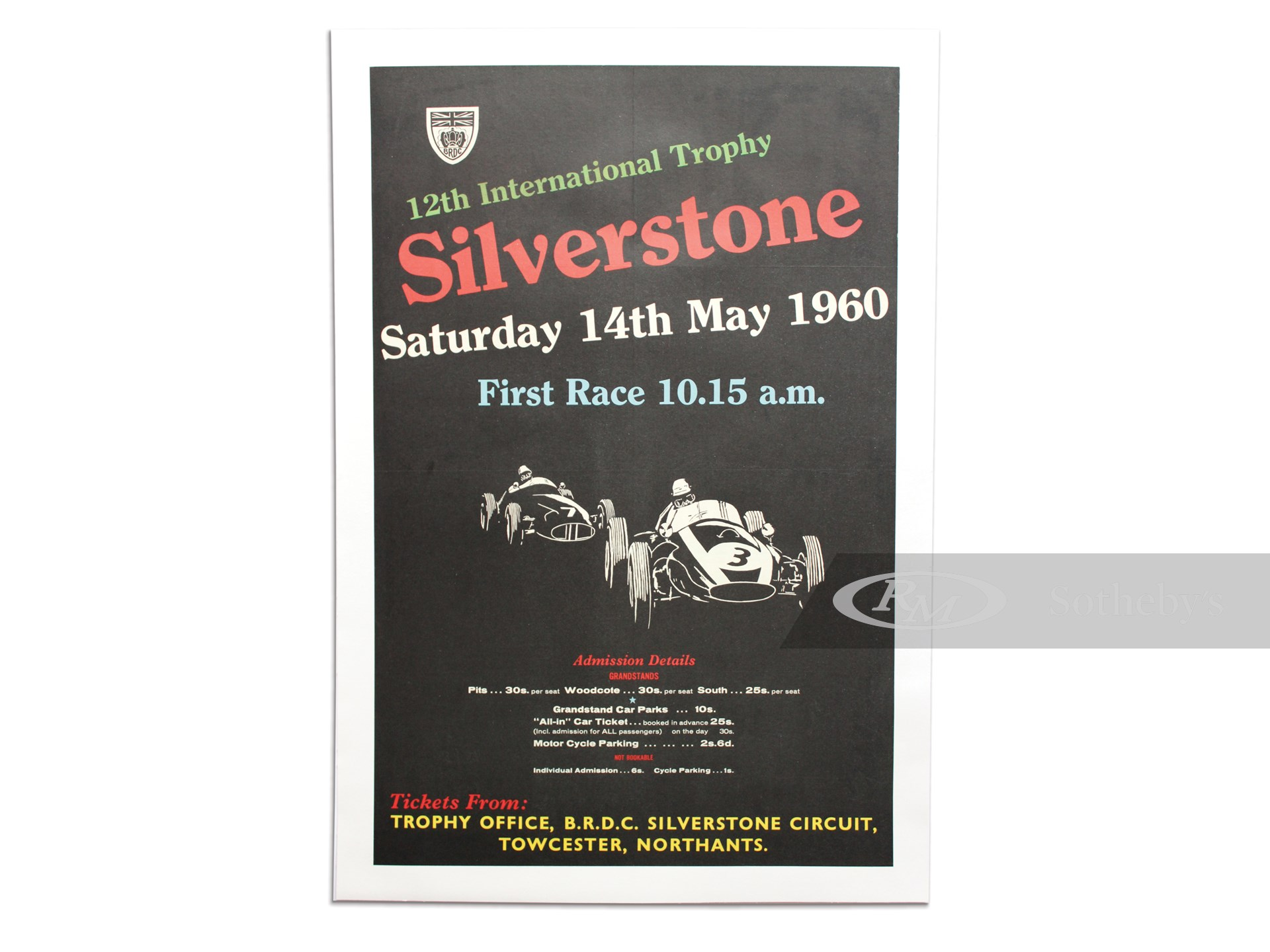 """""""12th International Trophy Silverstone Saturday 14th May 1960"""" British Racing Drivers Club Event Poster -"""
