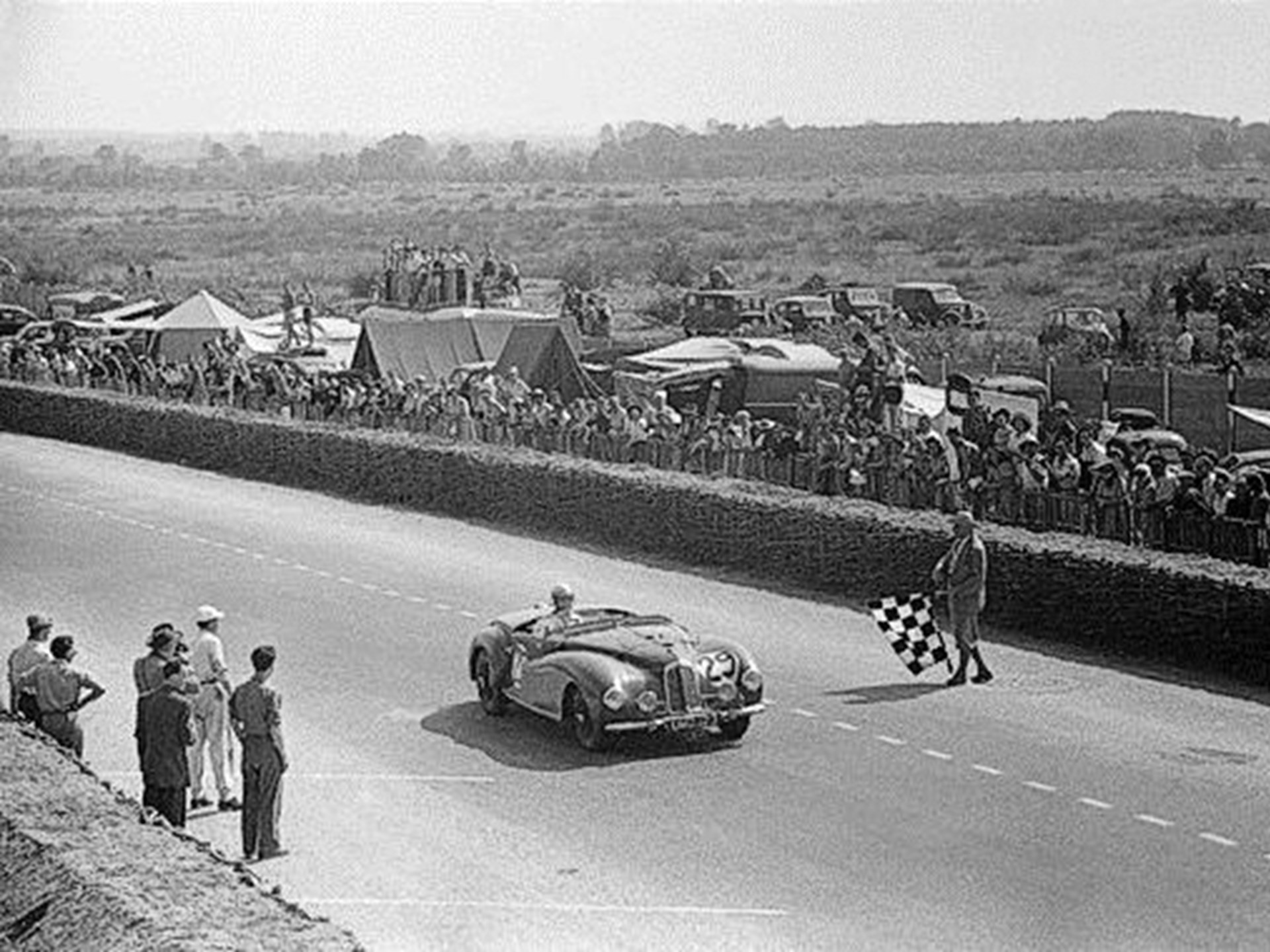 Robert Lowrie crosses the finish line in 10th place at the 1949 Le Mans.