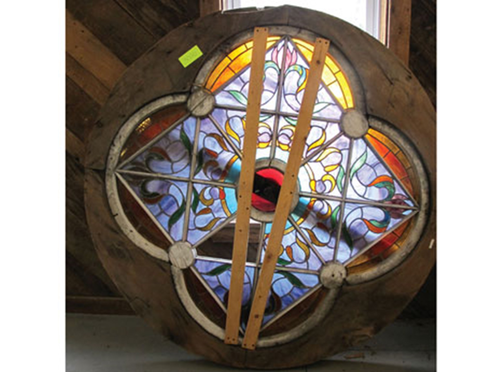Very Large Round Stained Gl Window
