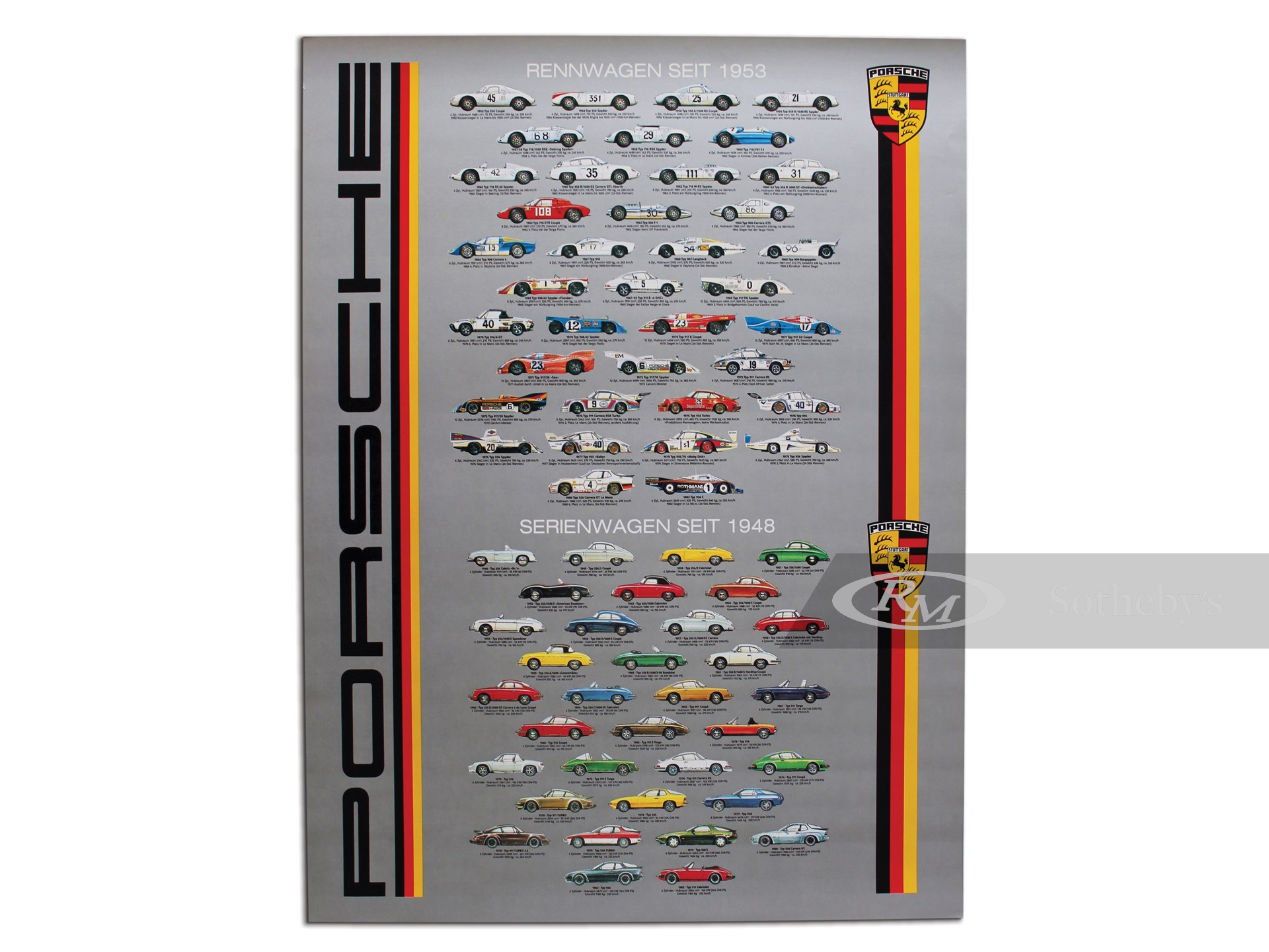 Porsche Race and Street Cars Factory Vintage Poster, 1980 -