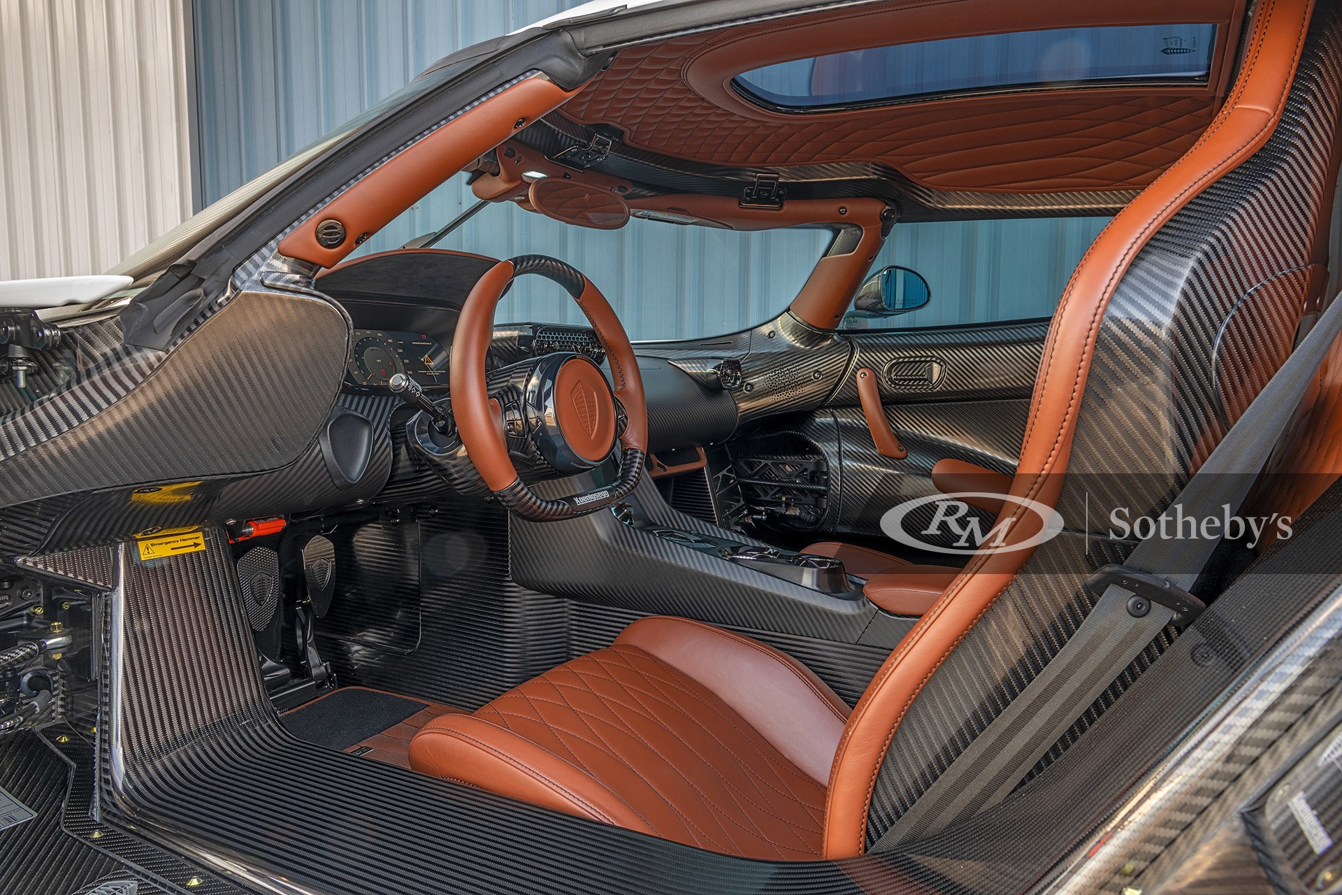 Bespoke Interior of Crystal White/Clear Carbon 2019 Koenigsegg Regera available at RM Sotheby's Arizona Live Auction 2021