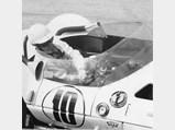 1961 Chaparral 1 Prototype  - $Jim Hall's co-driver Hap Sharp cranking through a corner in Chaparral 001 at Sebring, March, 1962.