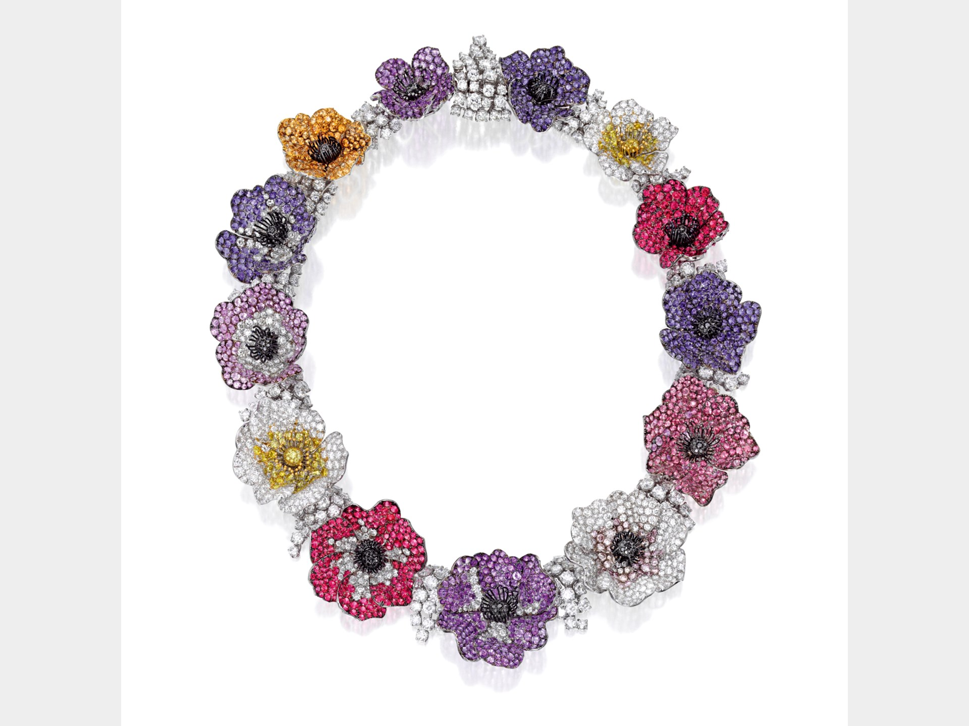Michele della Valle, Gem-Set and Diamond 'Anemone' Necklace