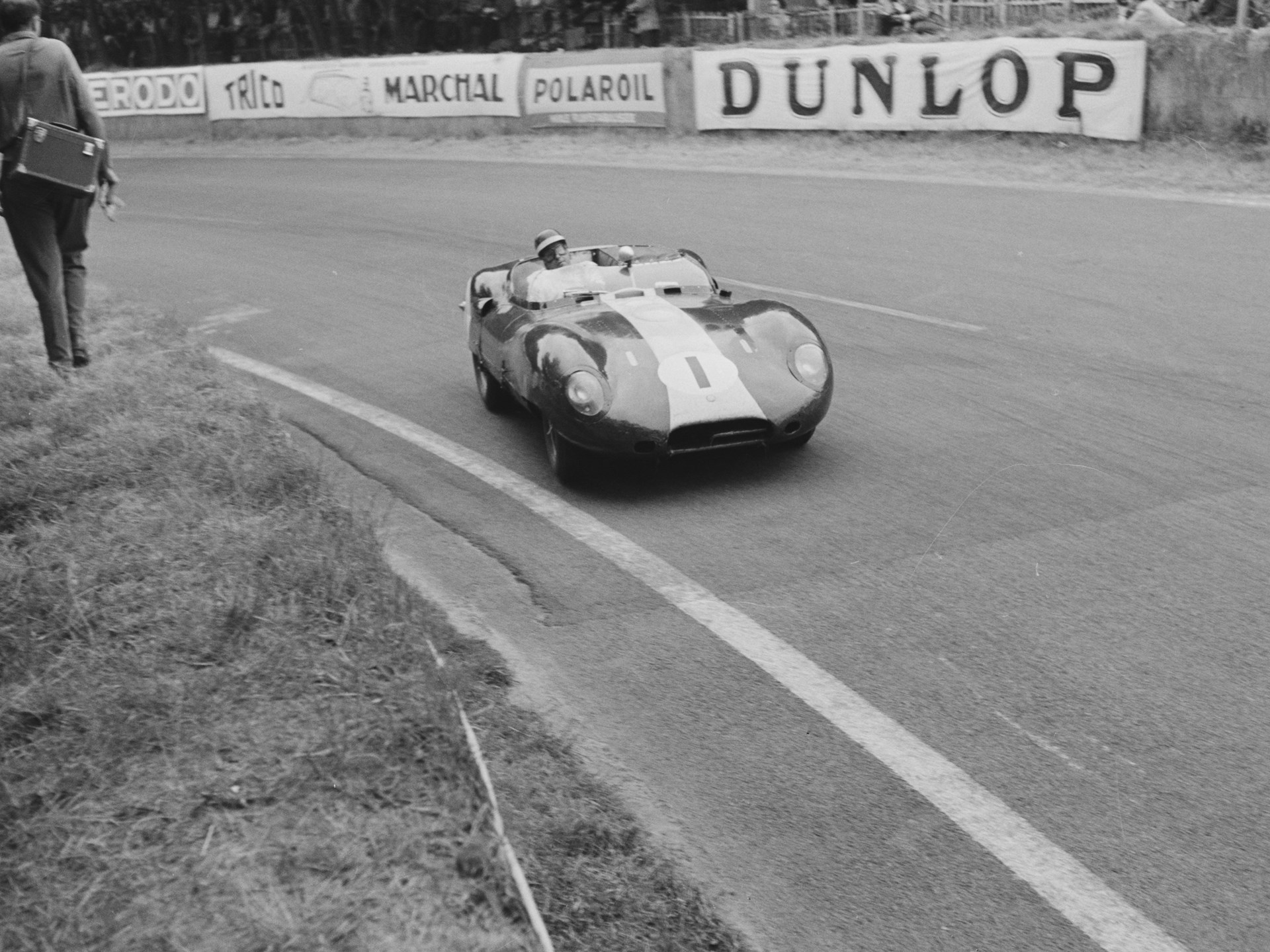 The Lister-Jaguar at the 24 Hours of Le Mans with Ivor Bueb and Bruce Halford.
