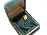 Porsche Crest Gold Lapel Pin, Factory Service Award, ca. 1960s - $