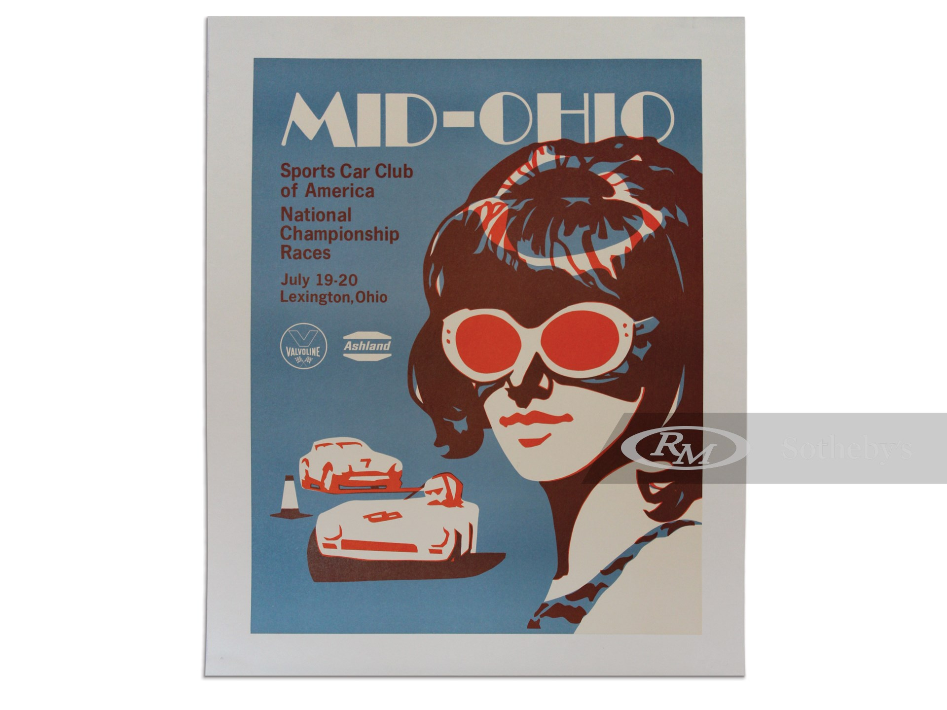 """""""Mid-Ohio Sports Car Club of America National Championship Races July 19-20"""" Vintage Event Poster, ca. 1969 -"""
