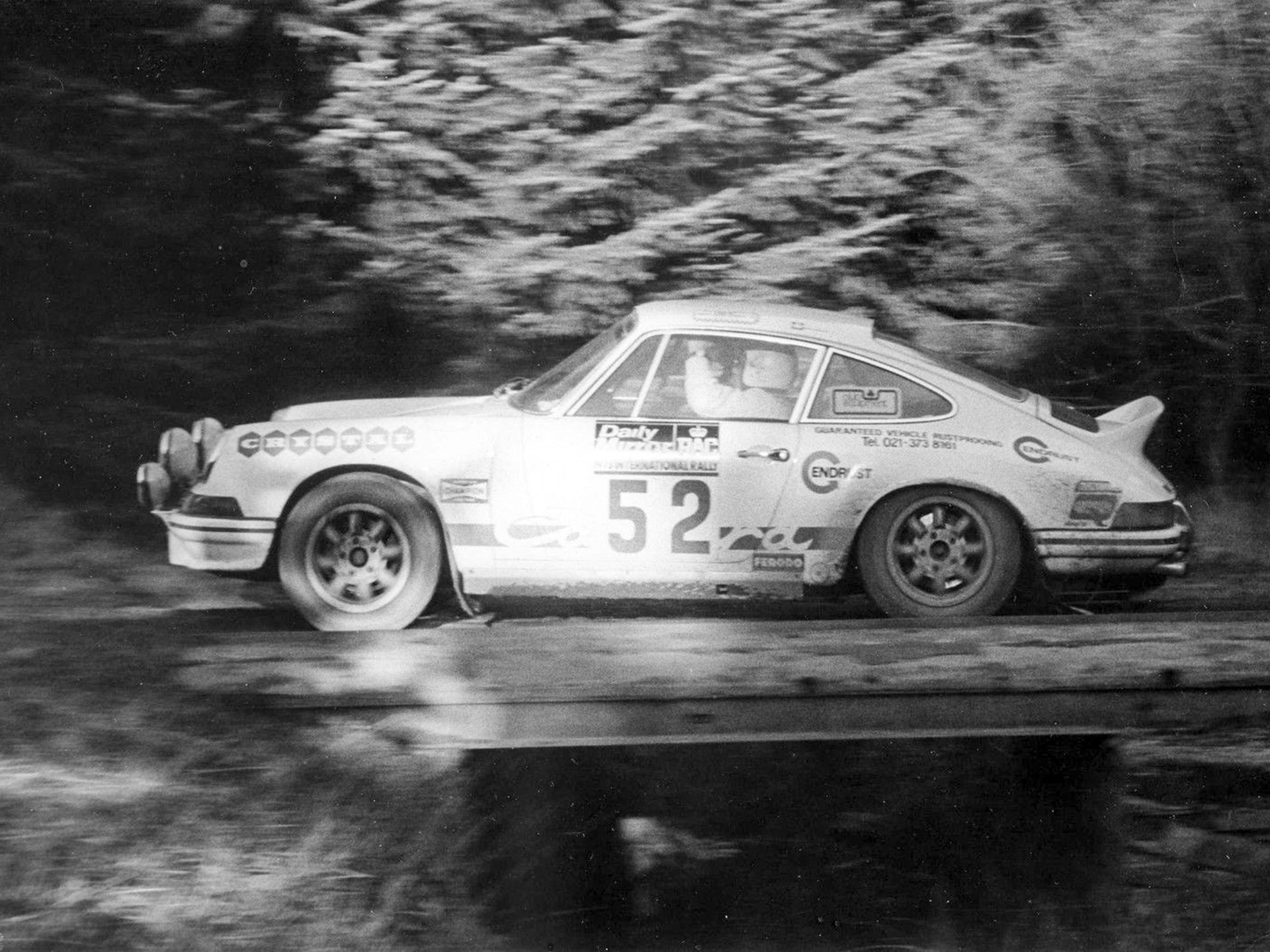 Harold Morley behind the wheel of the 2.7 RS at the 1973 RAC rally, where he finished 2nd in class.