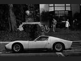 1971 Lamborghini Miura P400 S by Bertone - $Parked in front of University of California Berkeley, International Student Dormitory, 1972