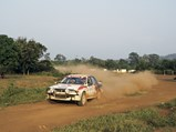 1990 Mitsubishi Galant VR-4 Group A  - $Patrick Tauziac and Claude Papin at speed during the 1990 Rallye Côte d'Ivoire Bandama.