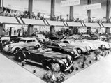 "1936 Lancia Astura Cabriolet Series III ""Tipo Bocca"" by Pinin Farina - $This cabriolet, front row, far right, on the Pinin Farina stand at the 1936 Milan Salon."
