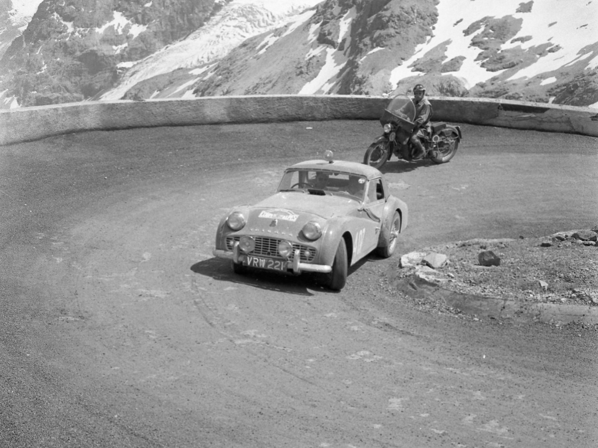 The TR3A on the Coupes Des Alpes rally in July of 1958.