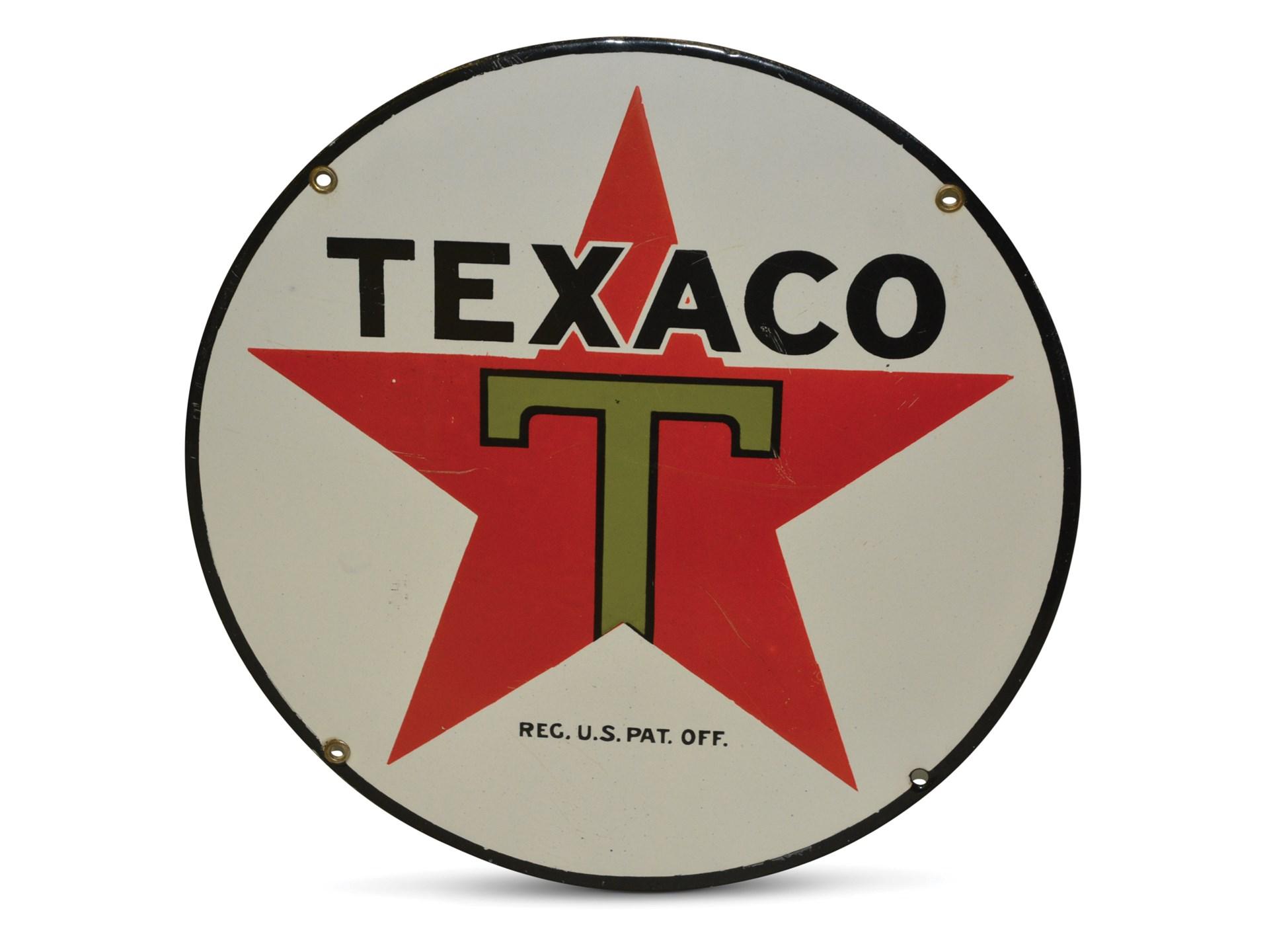 RM Sotheby's - Texaco 'Black-T' Star Logo Large Porcelain