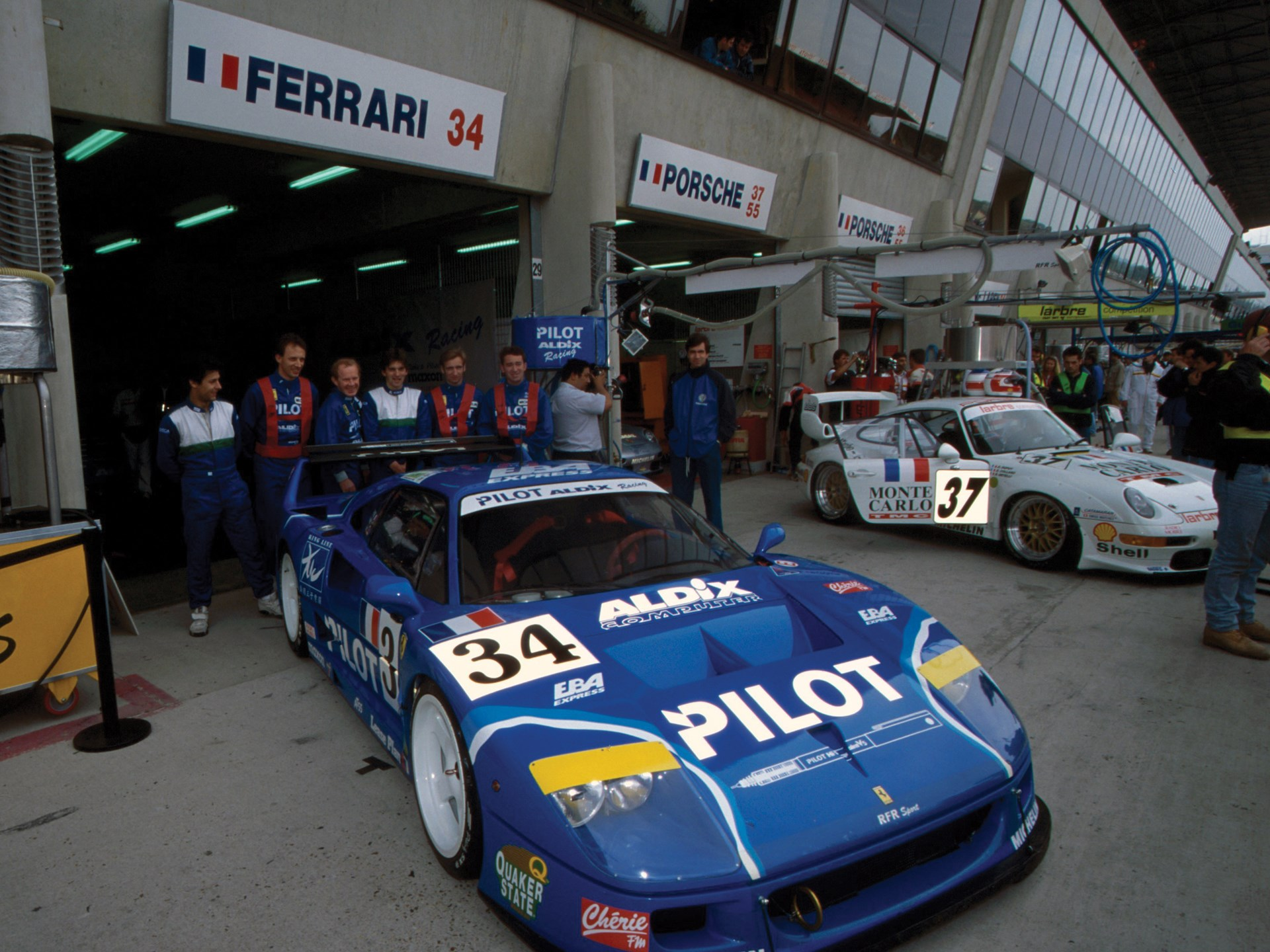 In the pits at the 1995 24 Hours of Le Mans.