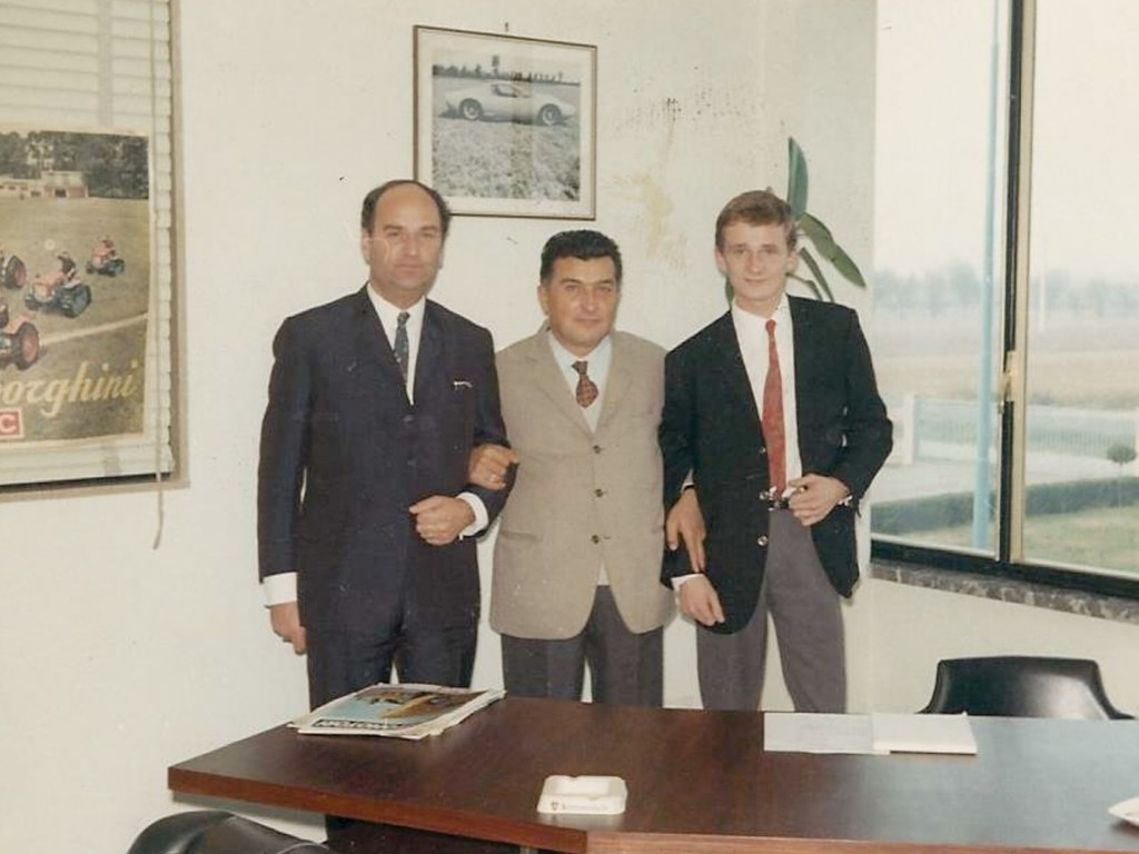 Ferruccio Lamborghini with the owner of the 400 GT and his son in 1967.