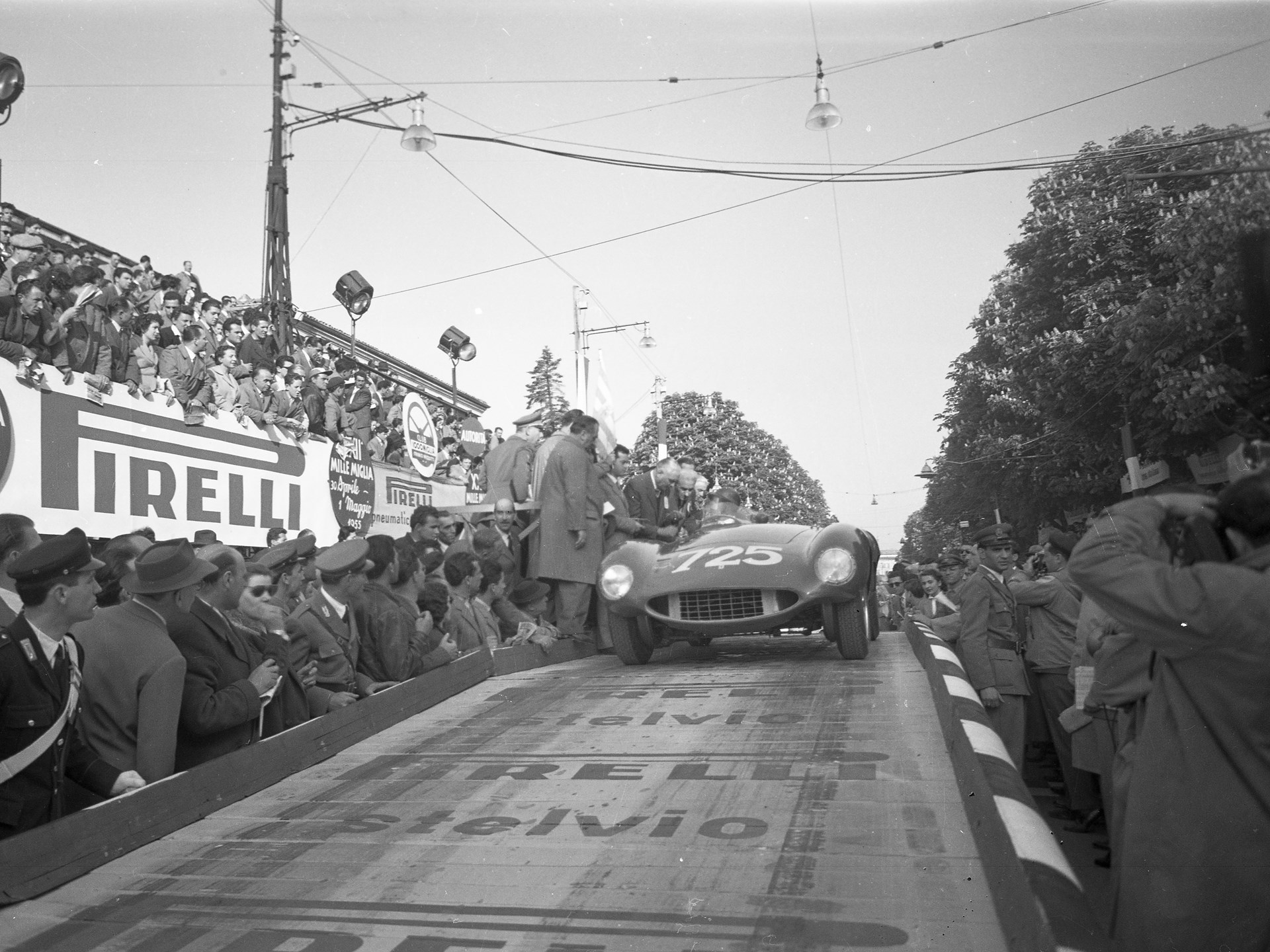 Paolo Marzotto and 0546 LM on  the starting ramp of the 1955 Mille Miglia.