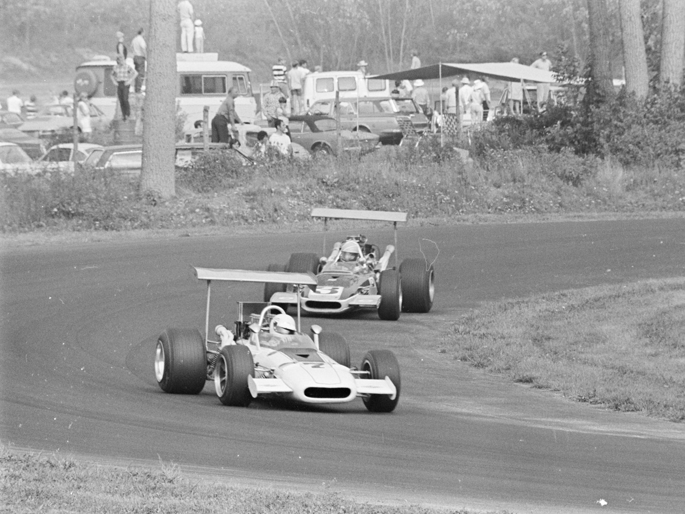 Ton Adamowicz leads Bobby Brown at the Lime Rock Grand Prix in September of 1969.