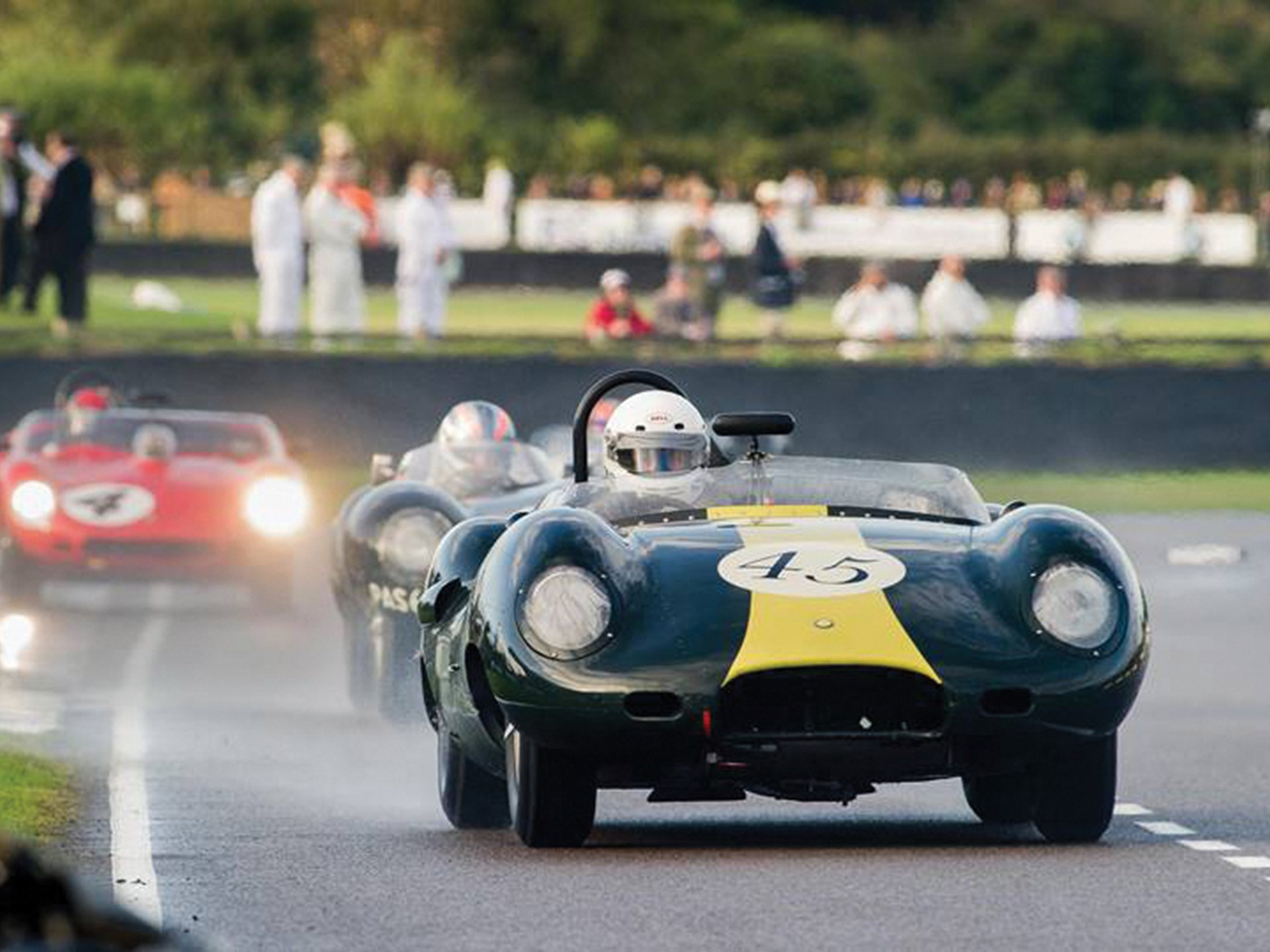 The Lister-Jaguar as seen at the Goodwood Revival in 2011 during the Sussex Trophy.