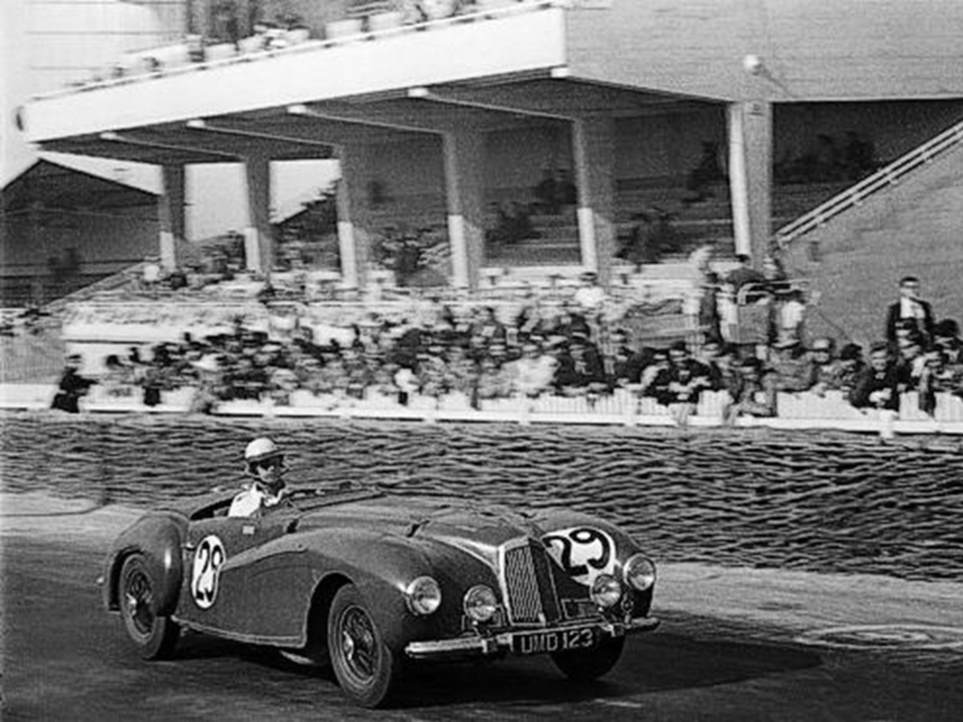 Dashing down the home straight at the 1949 24 Hours of Le Mans.
