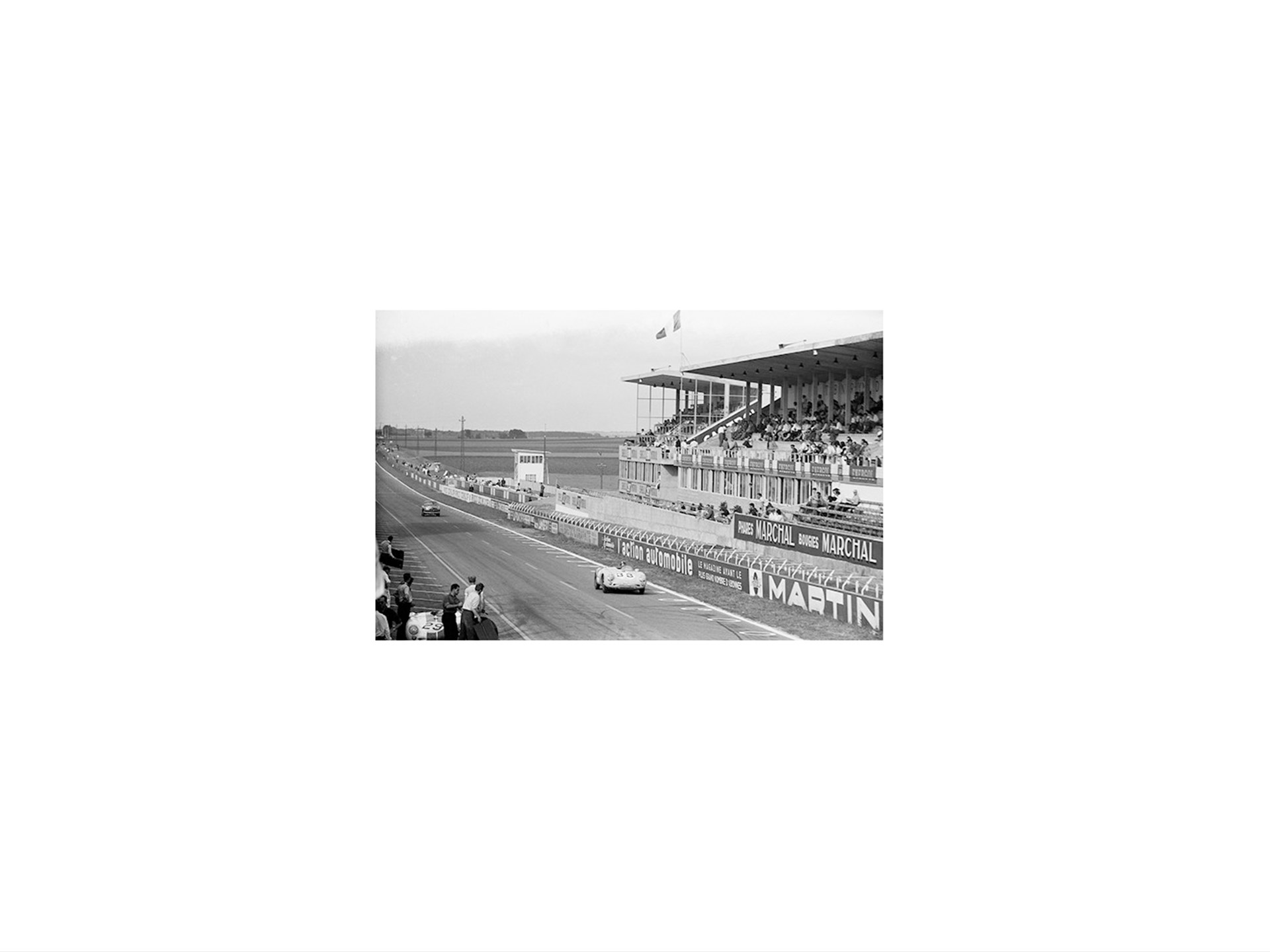 The 550 Spyder at the 12 Hours of Reims in 1956 where it finished 3rd in class.