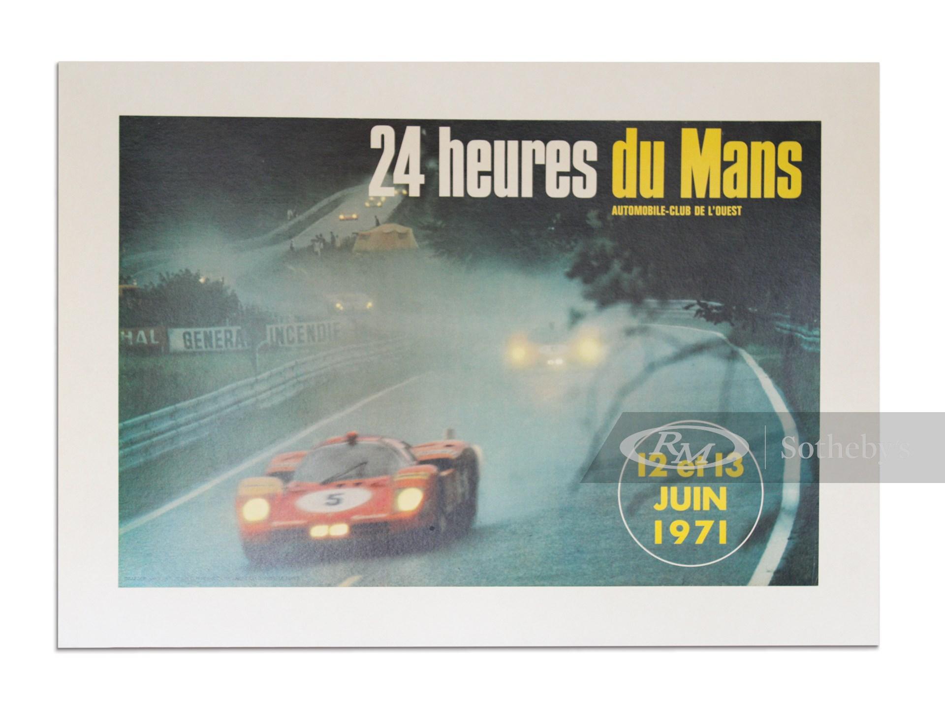 """""""24 Heures du Mans 12 et 13 Juin 1971"""" Automobile-Club de l'Ouest Vintage Event Poster -"""