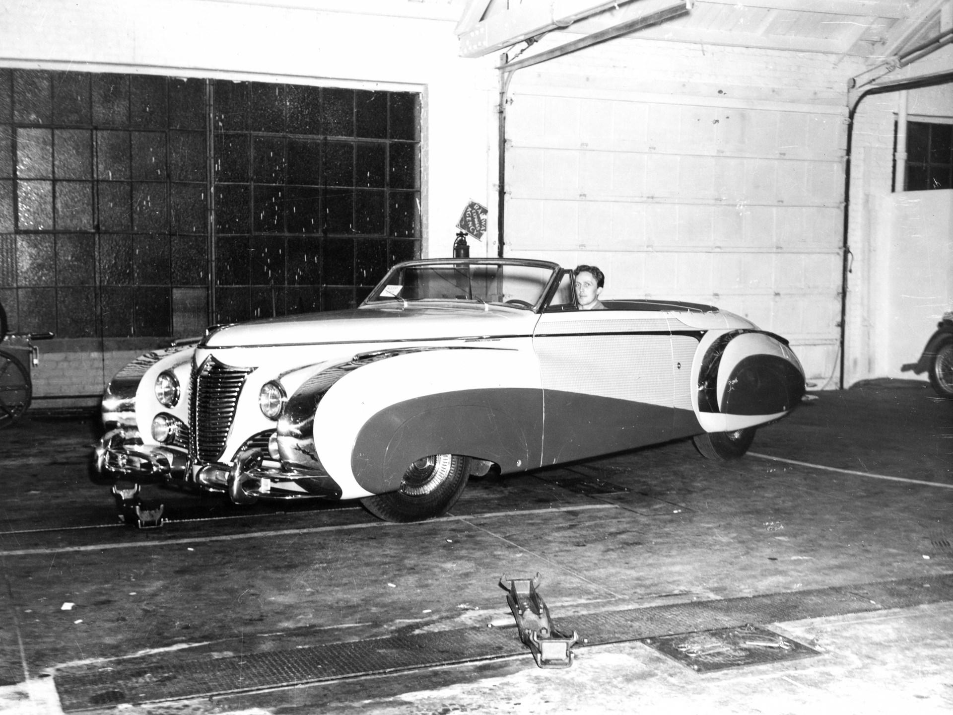 The new Saoutchik Cadillac at Roger Barlow's dealership in California.