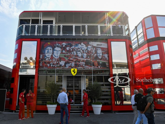 AUTODROMO NAZIONALE MONZA, ITALY - SEPTEMBER 05: Ferrari motorhome in the paddock with 90 Years branding during the Italian GP at Autodromo Nazionale Monza on September 05, 2019 in Autodromo Nazionale Monza, Italy. (Photo by Mark Sutton / Sutton Images)
