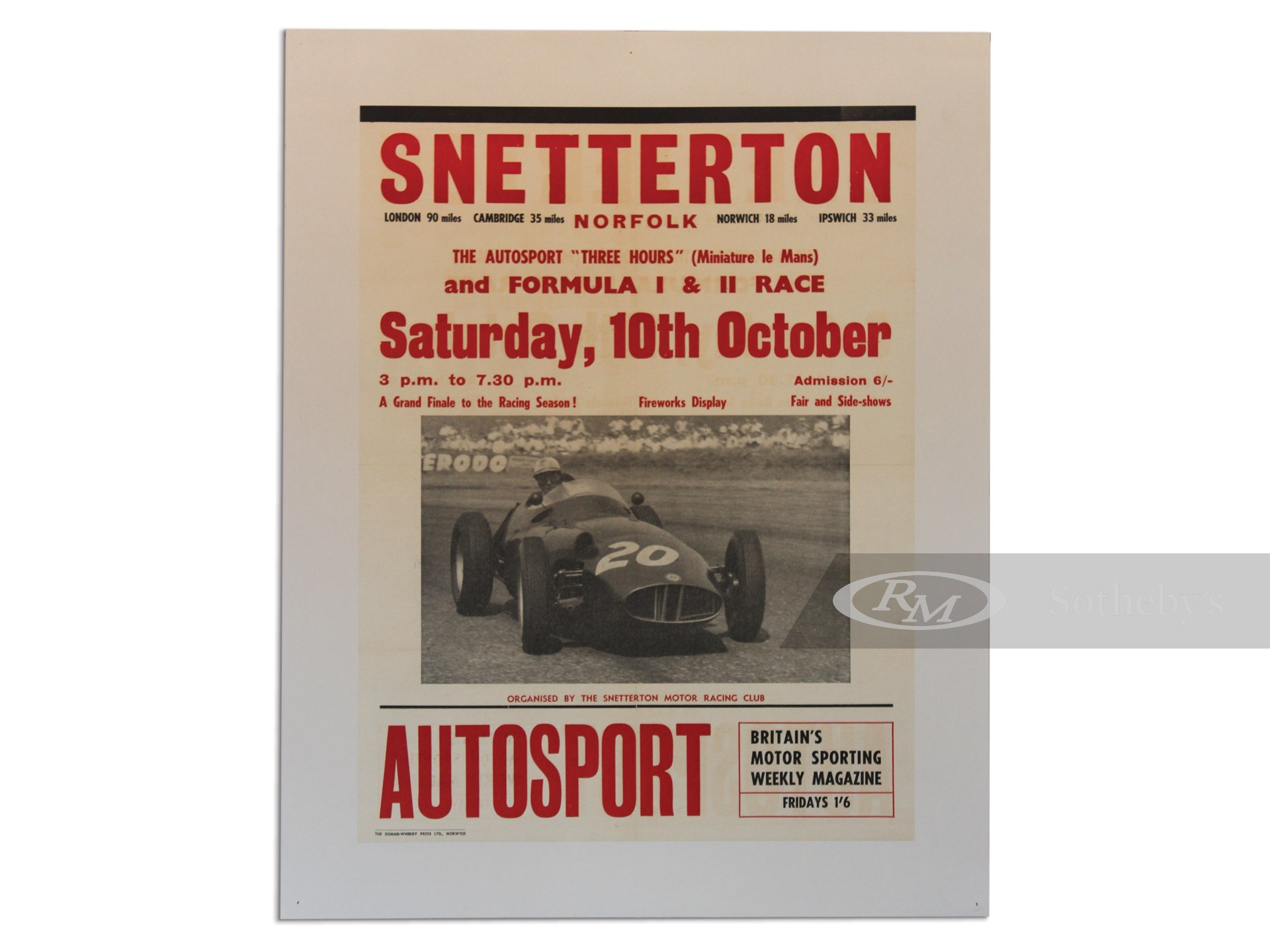 """Snetterton Norfolk The Autosport 'Three Hours' (Miniature le Mans) and Formula I & II Race"" Original Vintage Poster, ca. 1950 -"
