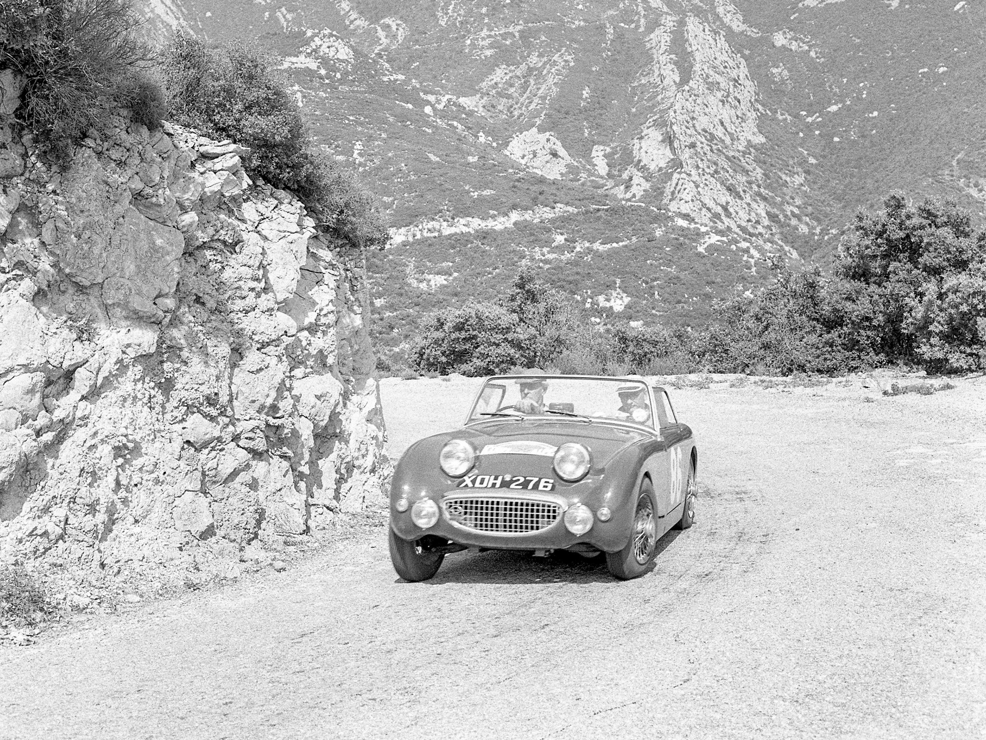 The Austin Healey at the 1959 Alpine Rally where it finished second in class.