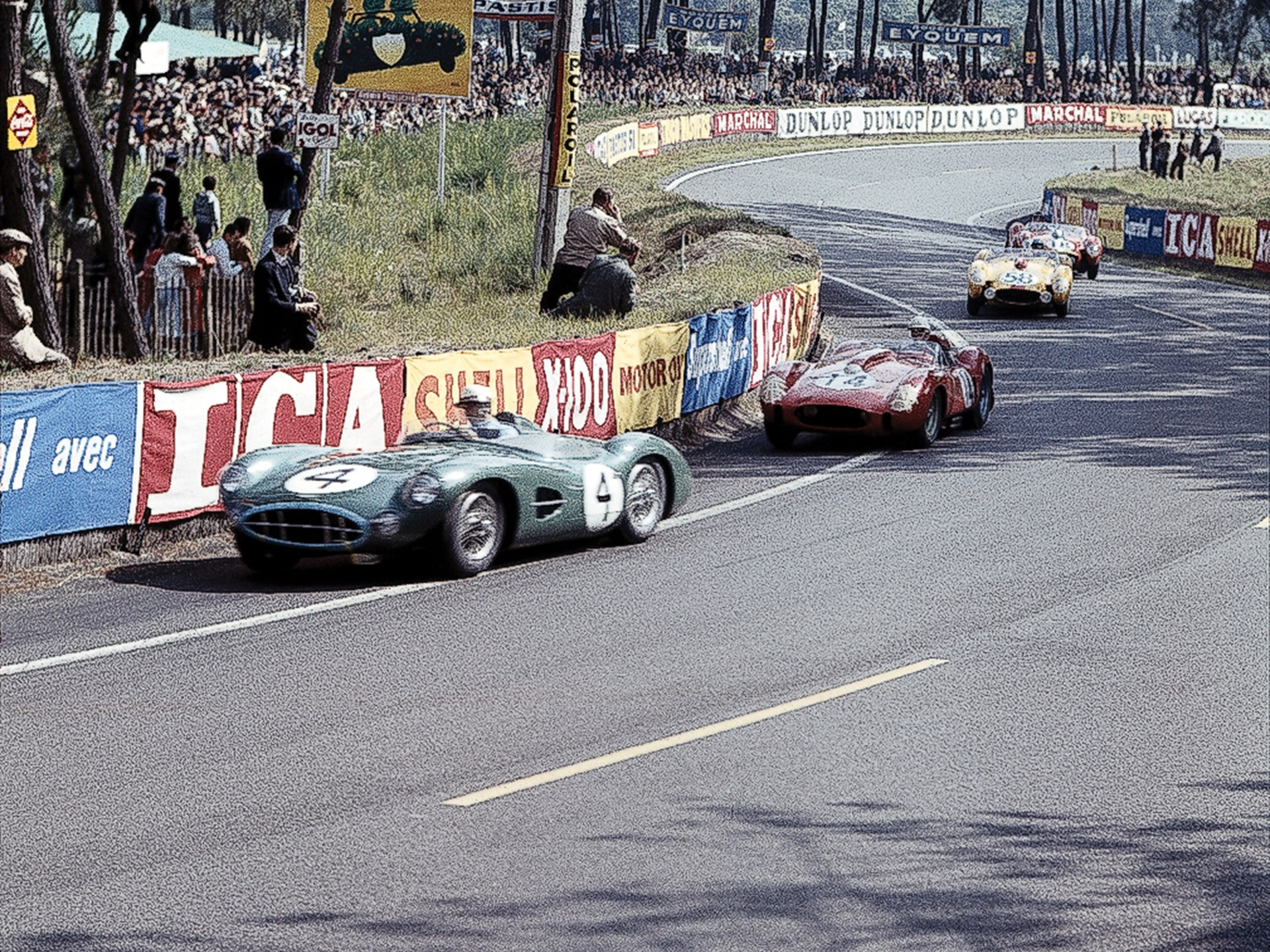 DBR1/1 leads a trio of Ferrari Testarossas, including the 250 TR/58 race winner, at the 1958 24 Hours of Le Mans.