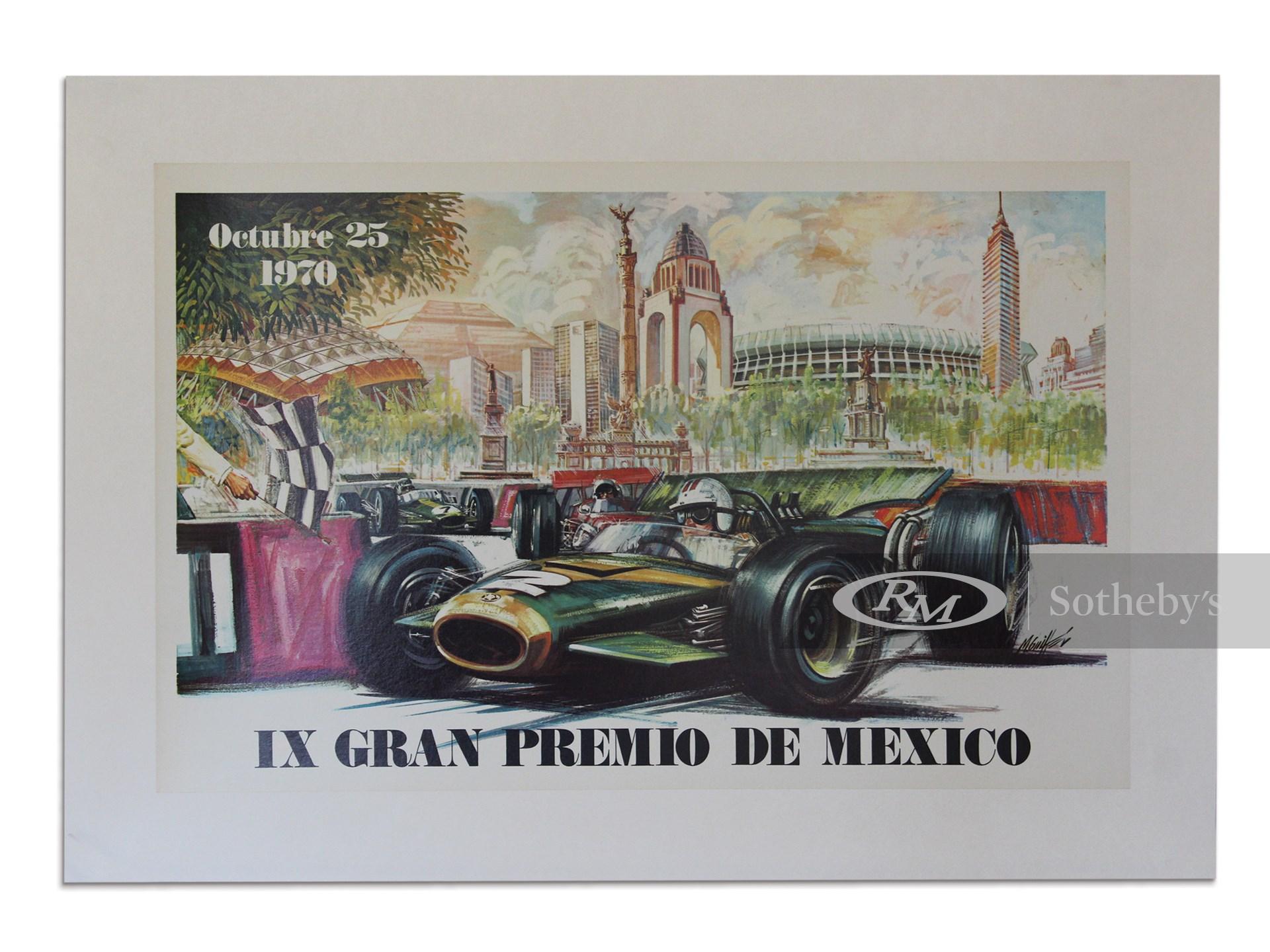 """IX Gran Premio de Mexico Octobre 25 1970"" Grand Prix of Mexico Event Poster -"