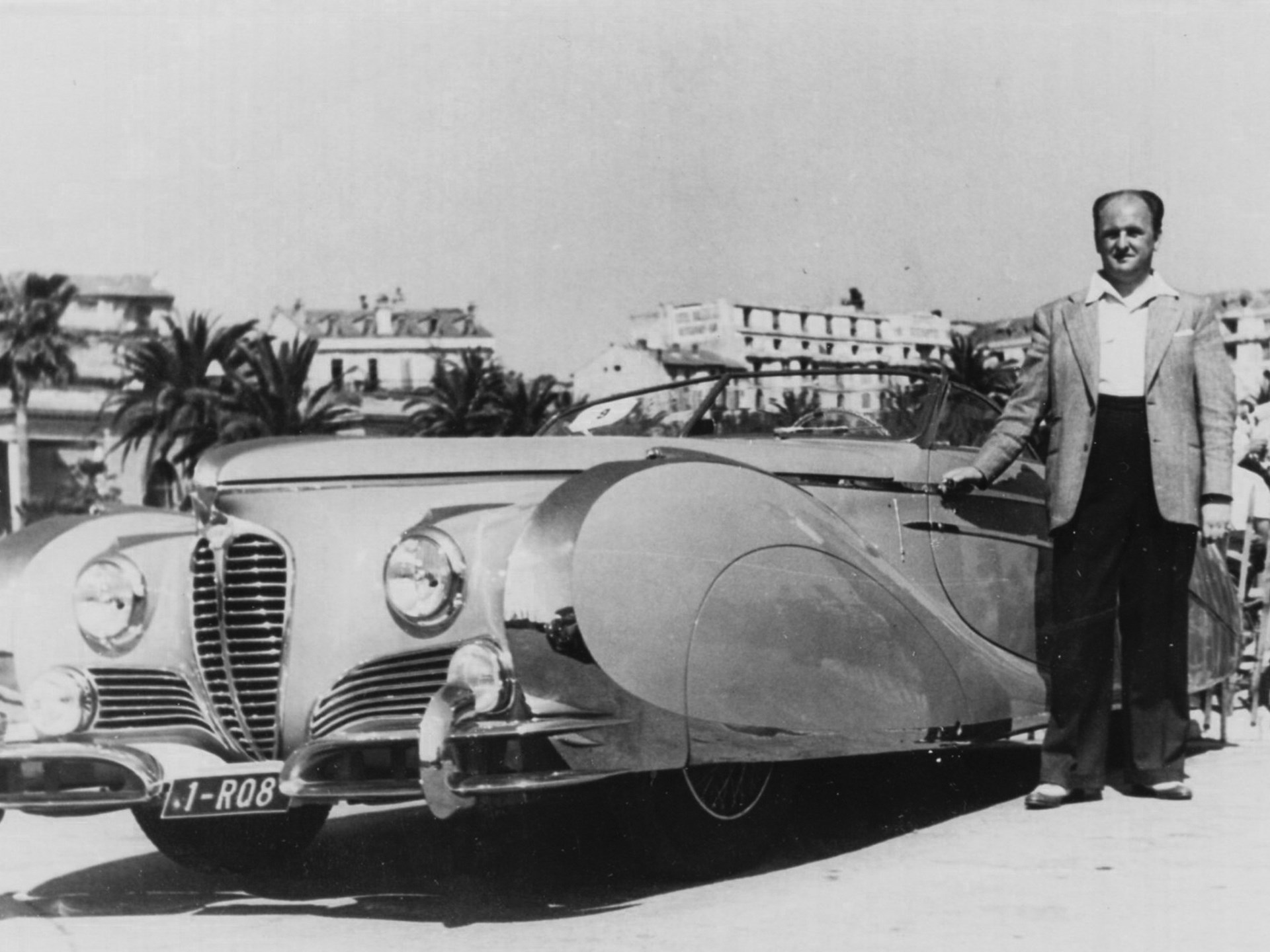 Mr. J Paul as pictured at the Concourse d'Elegance of Cannes on the Croisette, April 19, 1949 where he won the grand prize for two seat convertible sports cars.