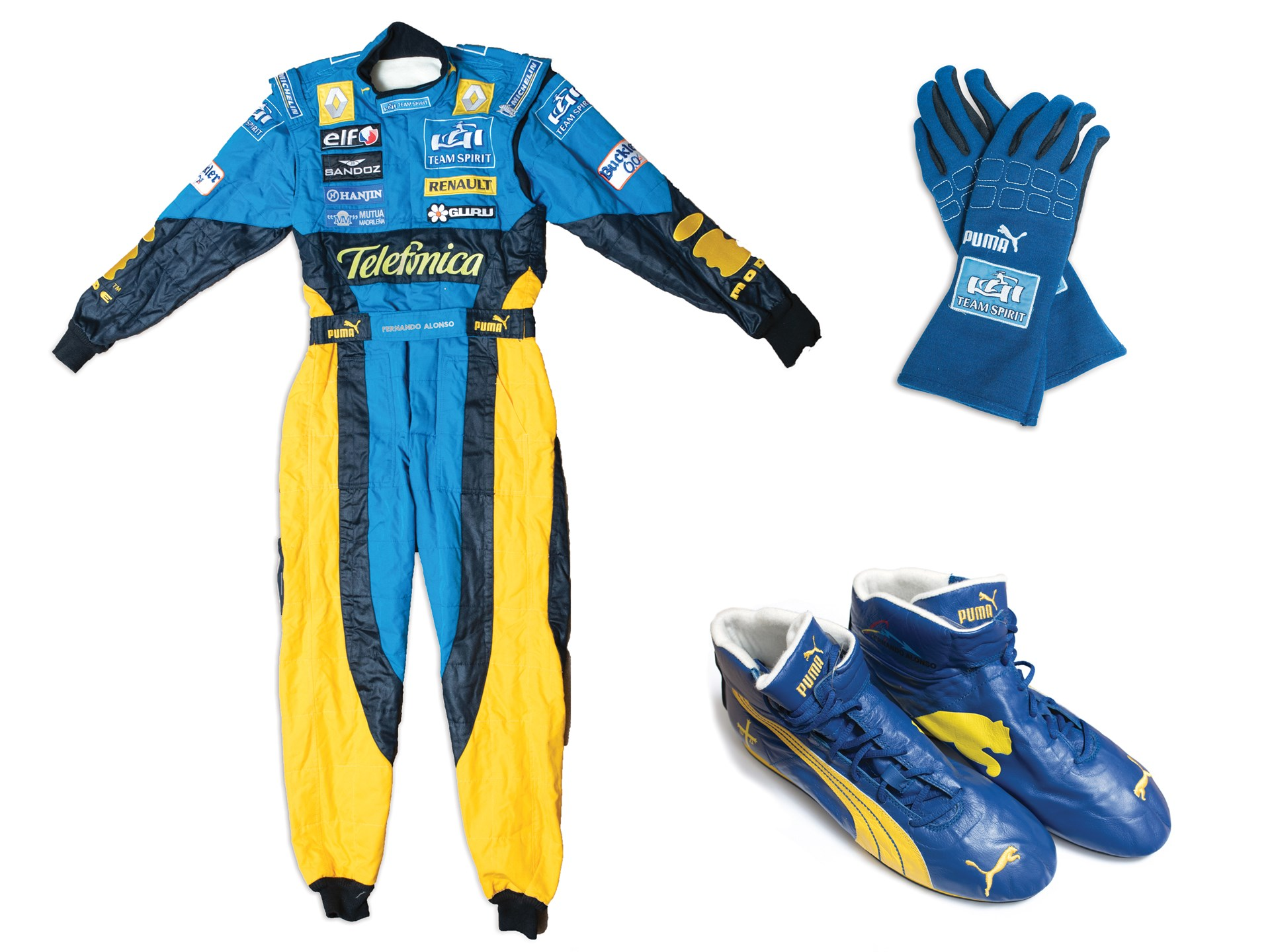 Fernando Alonso Renault Formula 1 Race Suit, Gloves & Boots, 2006