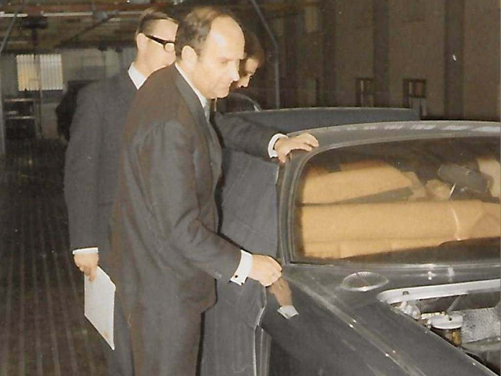 The current owner of the 400 GT inspects the production line at the Lamborghini factory in 1967.