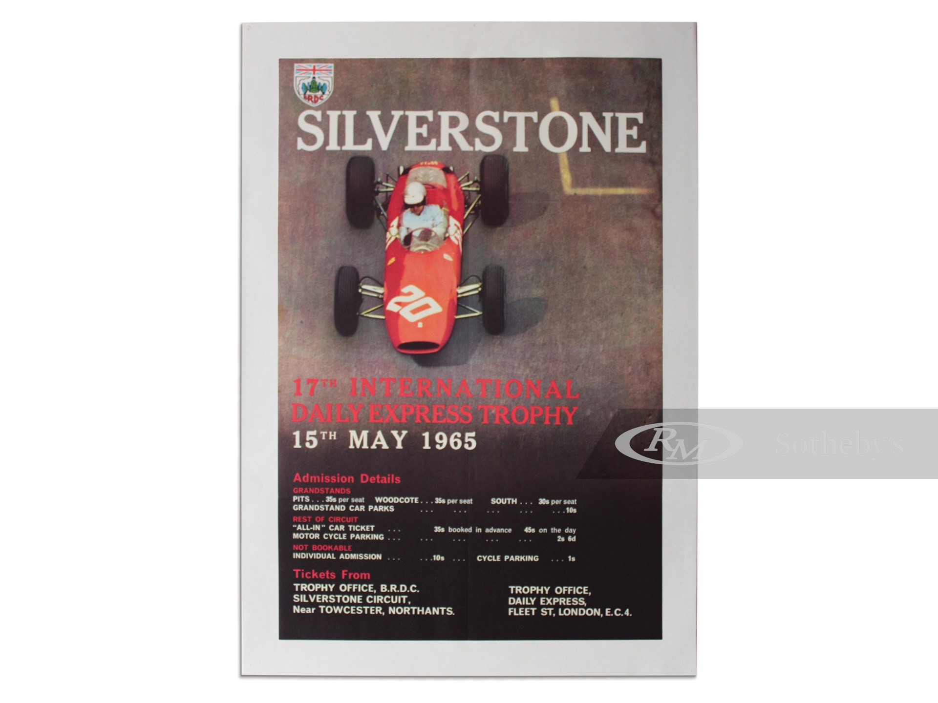 """""""Silverstone 17th International Daily Express Trophy 15th May 1965"""" British Racing Drivers Club Vintage Event Poster -"""