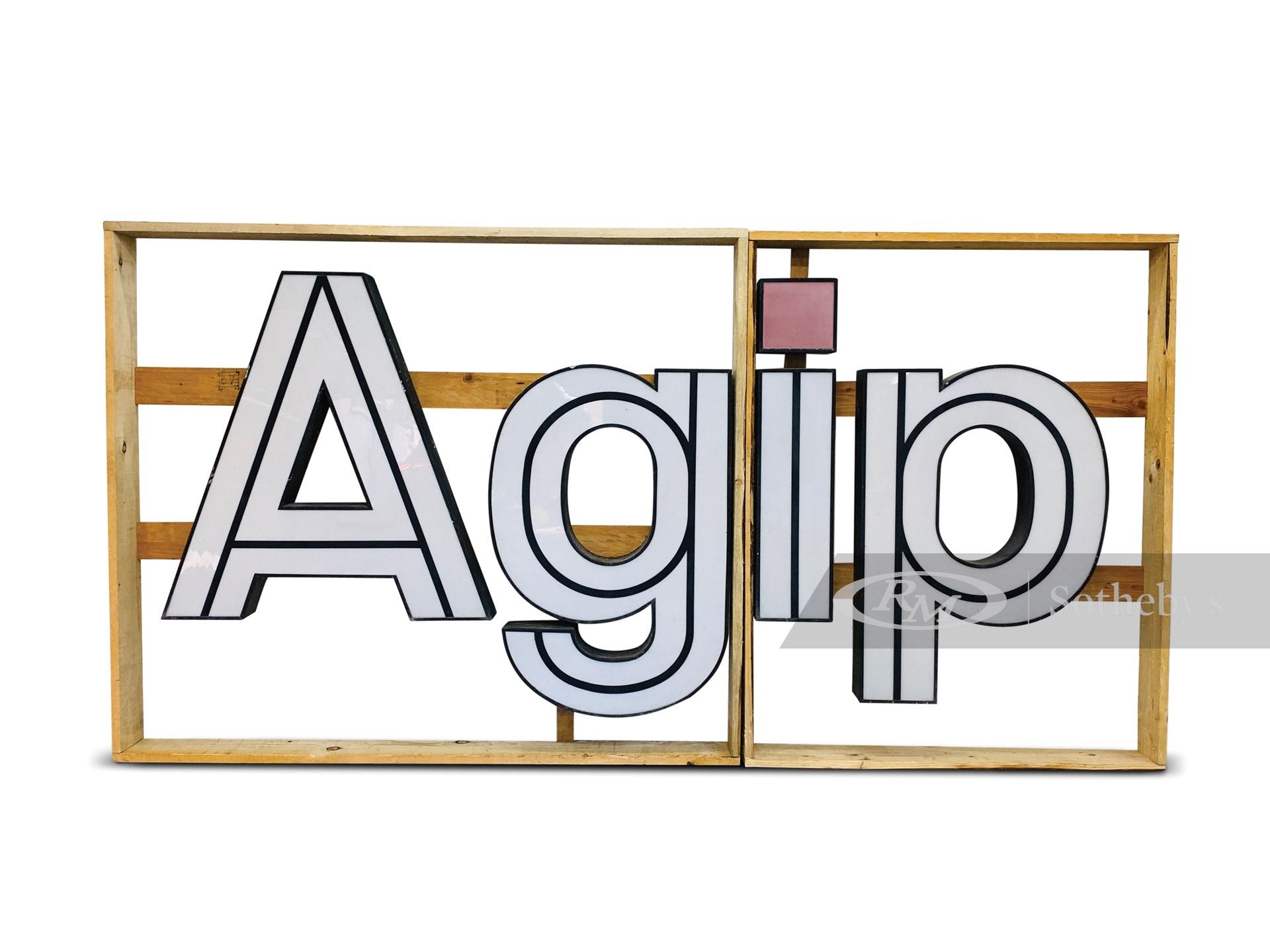 AGIP Illuminated Dealership Sign, ca. 1970s -