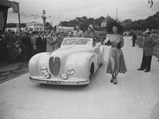 1948 Delahaye 135 M Cabriolet 'Malmaison' by Pourtout - $Pictured at a concours d'elegance event in Enghien-Les-Bains, France, in 1949. Among the occupants seated in the car are Jeanne Sourza, the French actress.