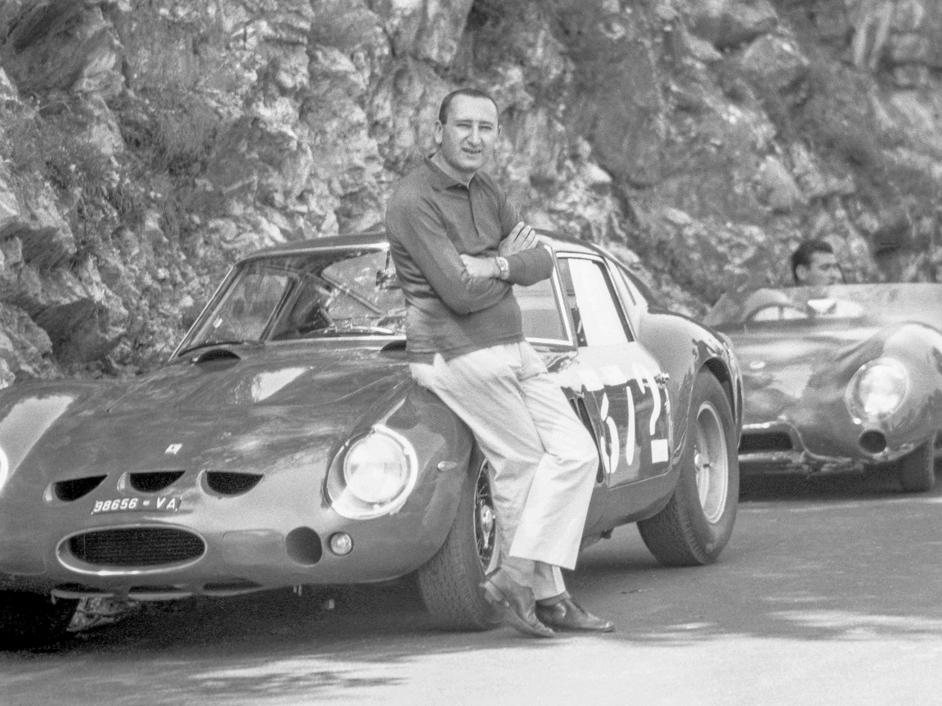 Edoardo Lualdi-Garbardi with his 250 GTO at the Trento-Bondone Hillclimb in 1962.