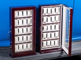 Two Dark Cherry Wood Watch Display Cabinets - $