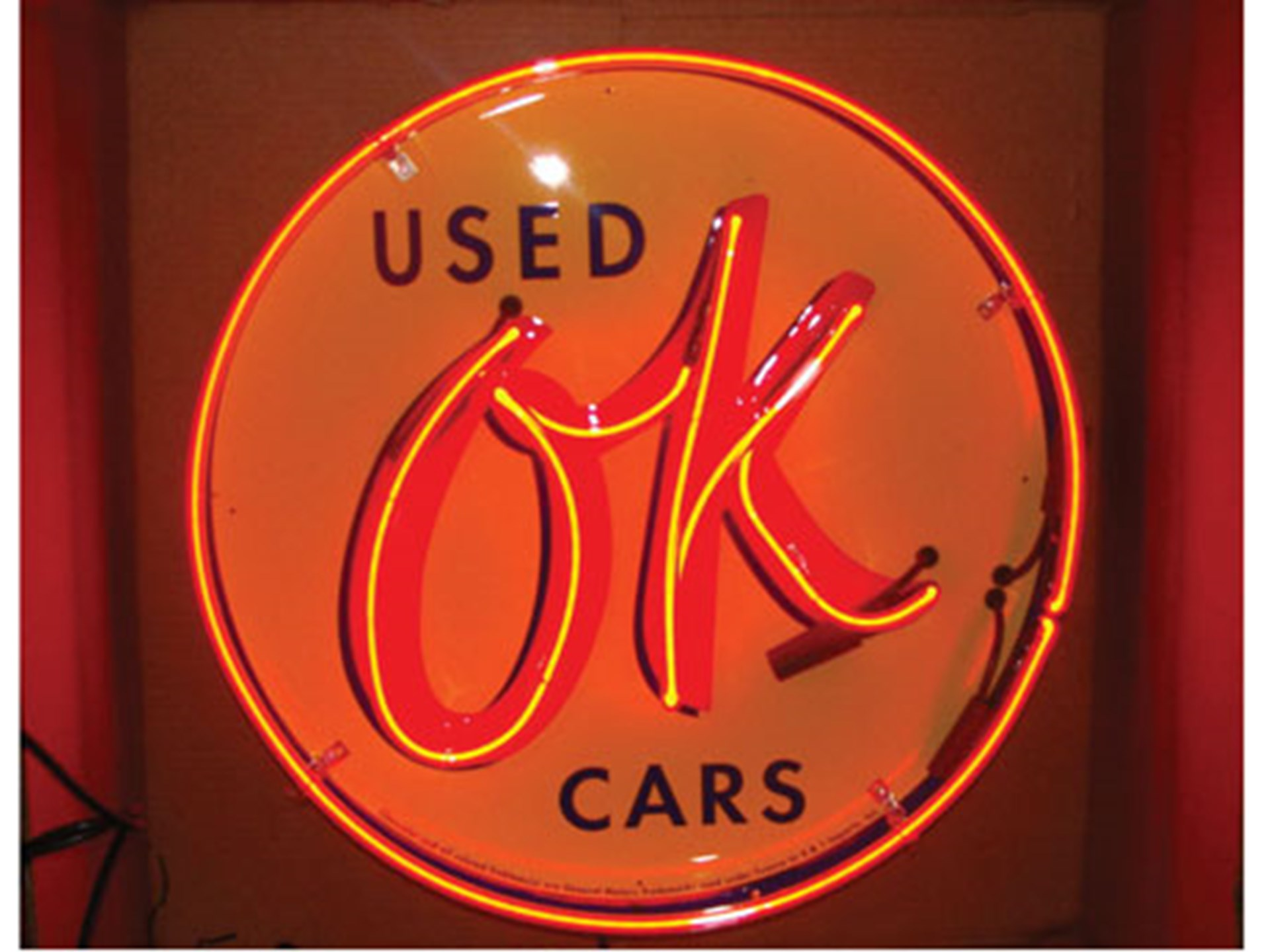 RM Sotheby's - OK Used Cars Neon Sign (23 Inch Round with Canister
