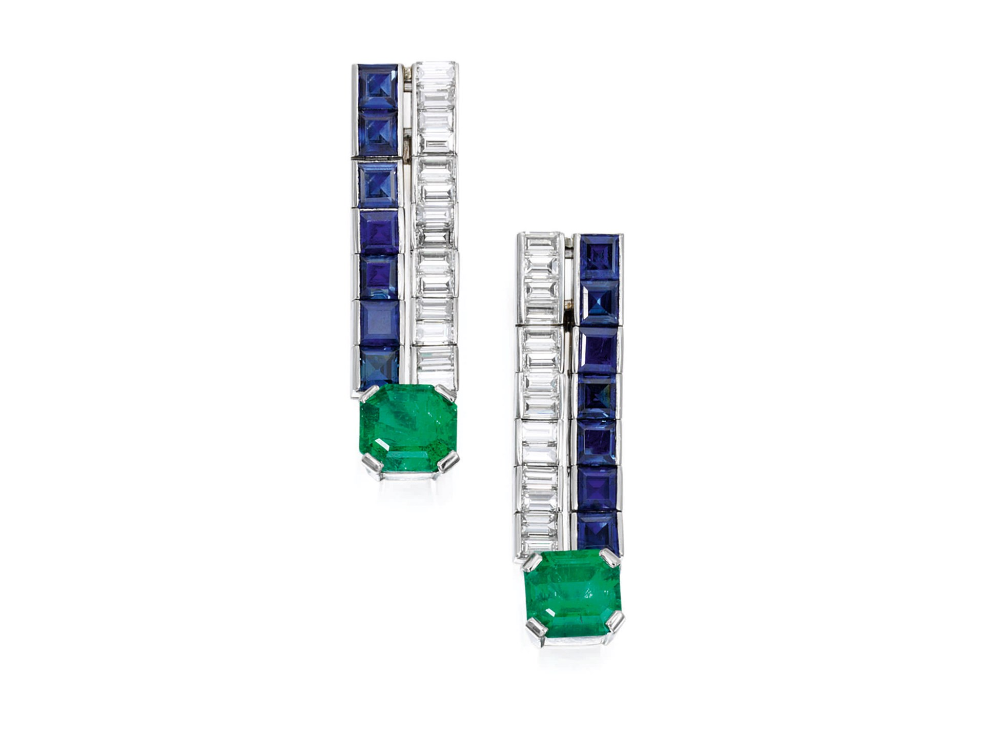 Pair of Emerald, Sapphire, and Diamond Earclips