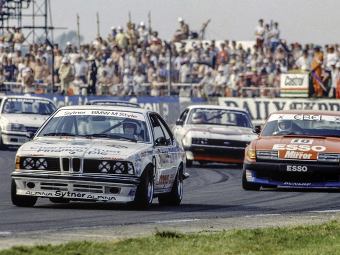 Frank Sytner and the 635 CSi at speed during the support race at the 1983 British Grand Prix.