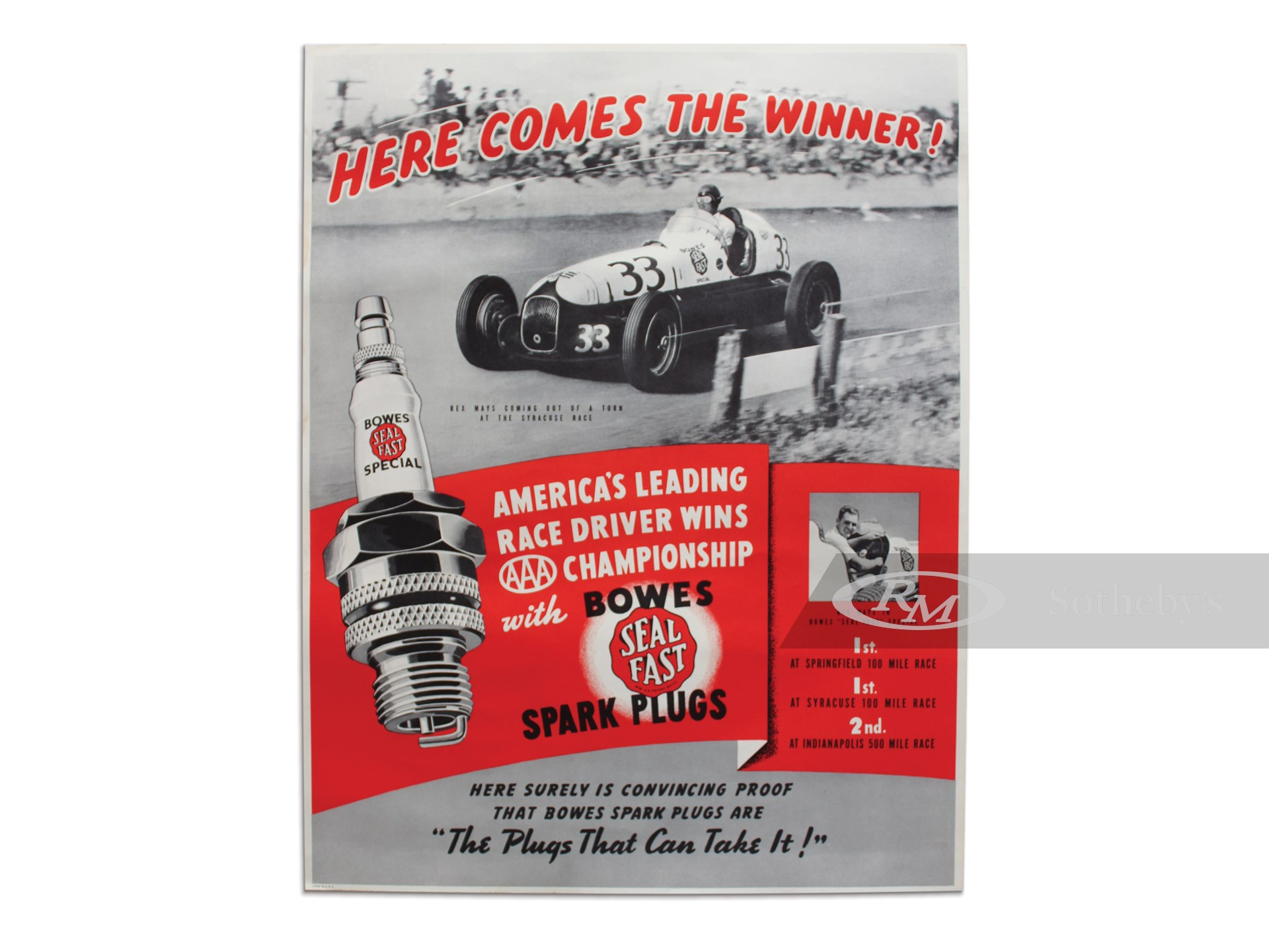 """Here Comes the Winner! America's Leading Race Driver Wins AAA Championship with Bowes Seal Fast Spark Plugs"" Advertising Poster, 1940 -"