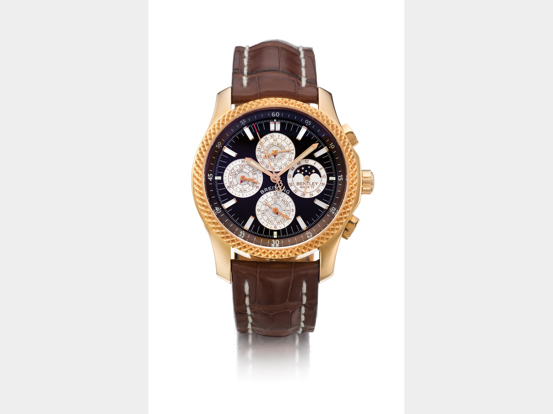 Breitling, Limited Edition Pink Gold Automatic Perpetual Calendar Chronograph Wristwatch with Registers and Moon Phases