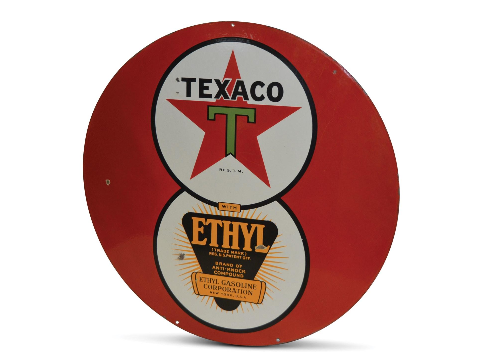 RM Sotheby's - Texaco '8-Ball' with Ethyl Logo Porcelain