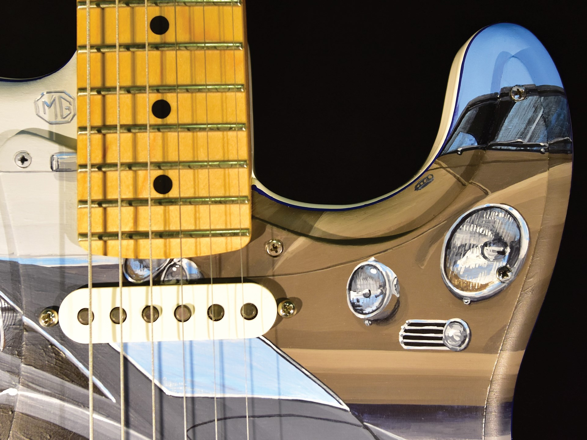 """Cars of the Rock Stars"" Fender Player Stratocaster Guitar by David Snyder"