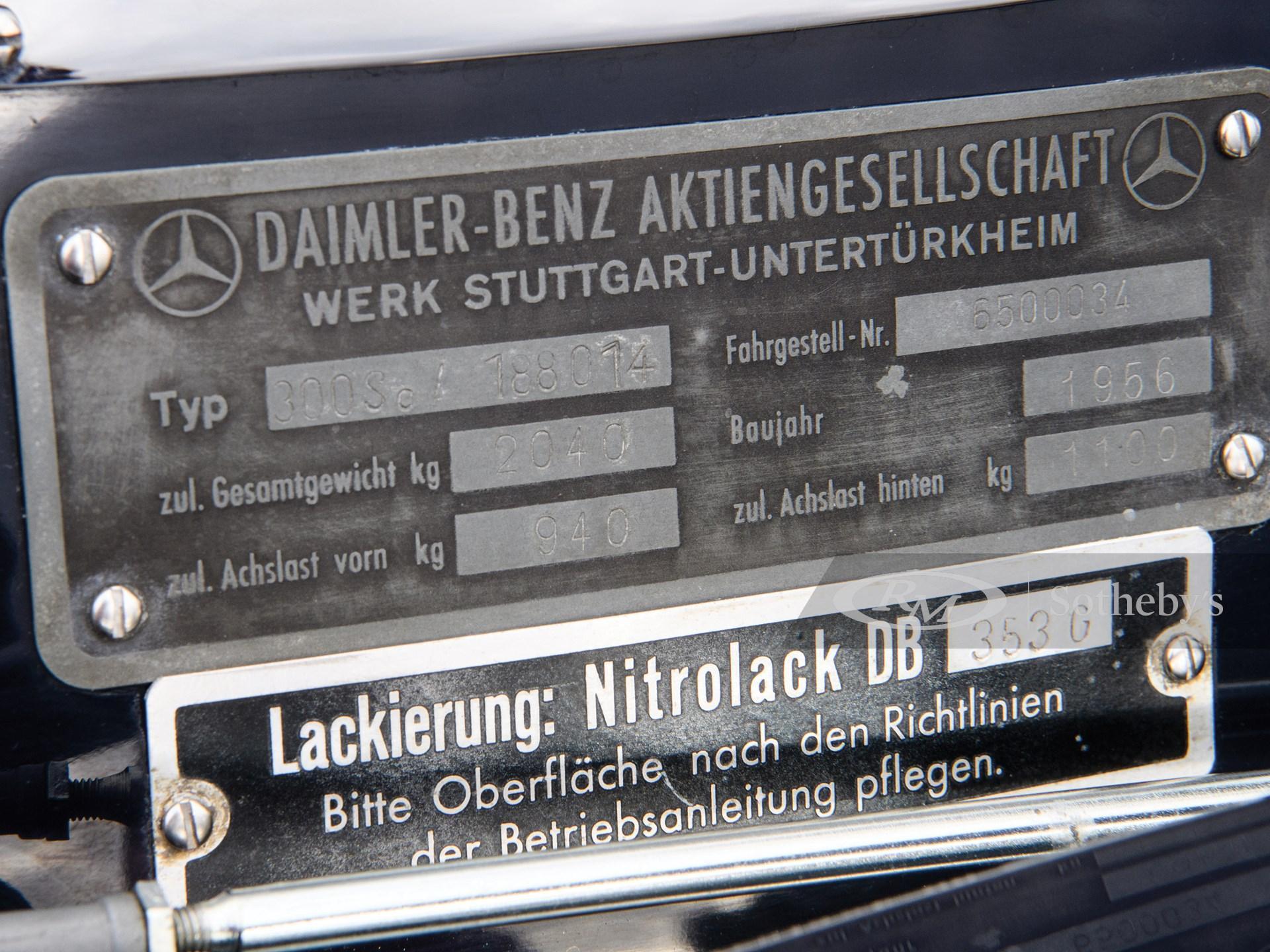 1956 Mercedes-Benz 300 Sc Coupé  -