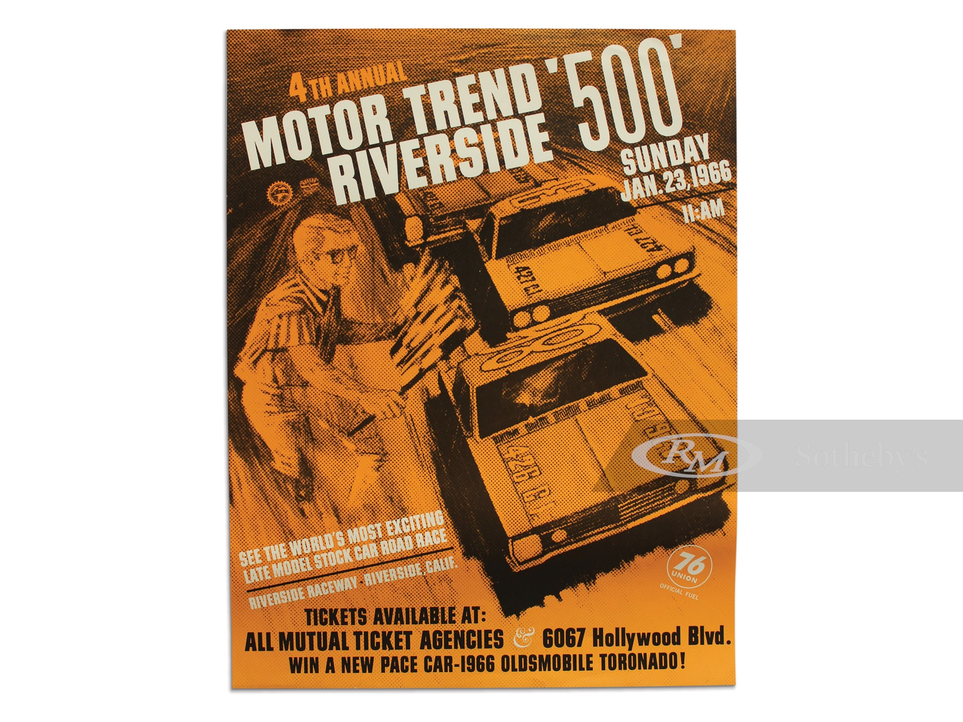 """4th Annual Motor Trend Riverside '500' Sunday Jan. 23, 1966"" Vintage Event Poster -"